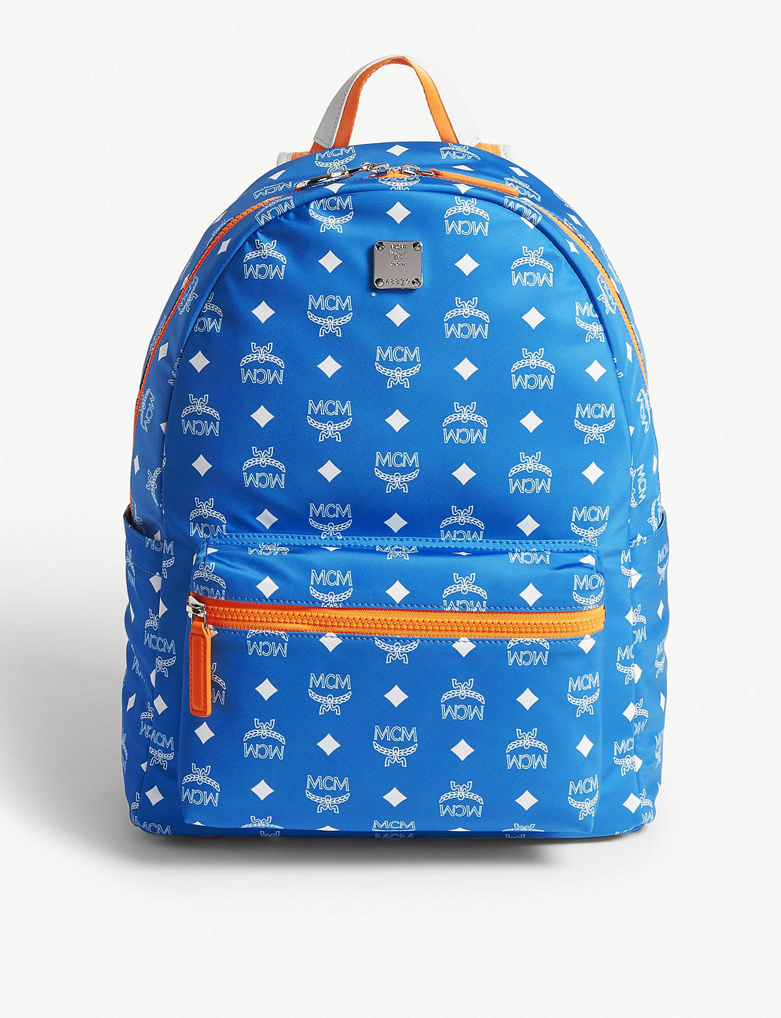 860682300d9a MCM - Blue Resnick Logo Nylon Backpack for Men - Lyst. View fullscreen