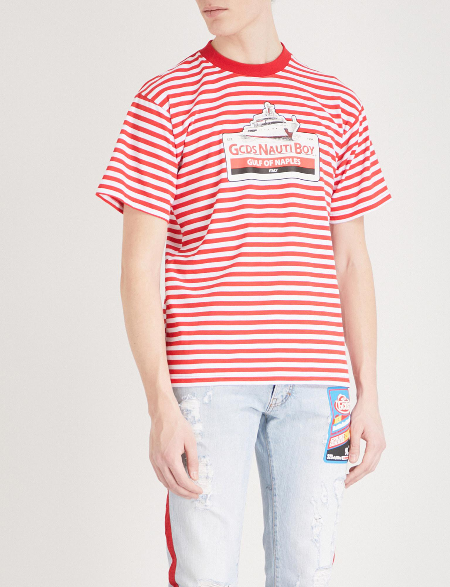 2b85469ef3 Gcds Striped Cotton-jersey T-shirt in Red for Men - Lyst