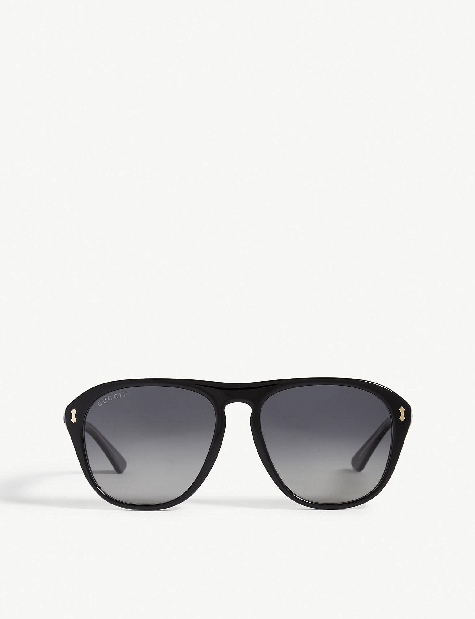 db6a03f556f Lyst - Gucci GG0128S Aviator-frame Sunglasses in Purple