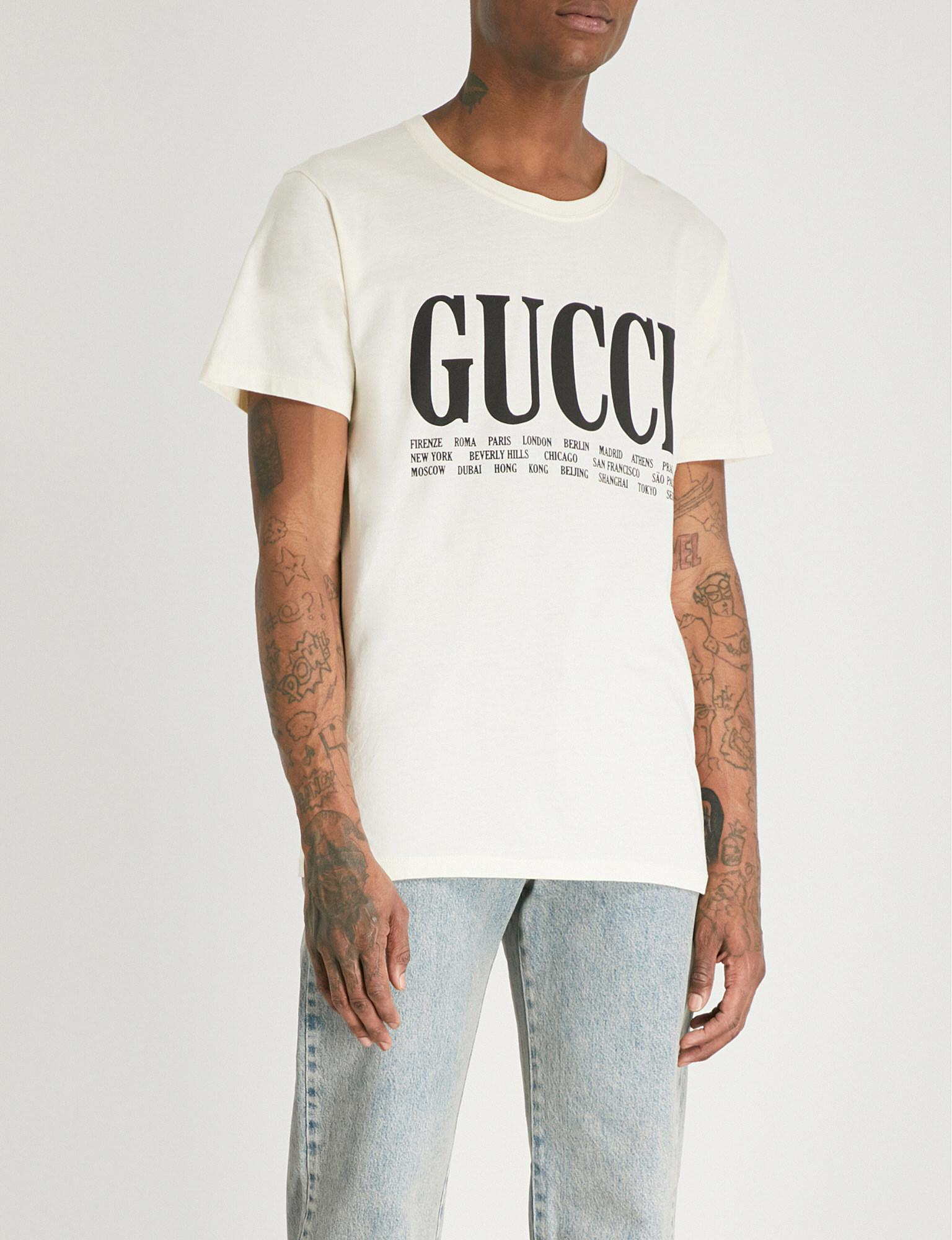 ed993059b9f1 Gucci Cities Cotton-jersey T-shirt in White for Men - Lyst