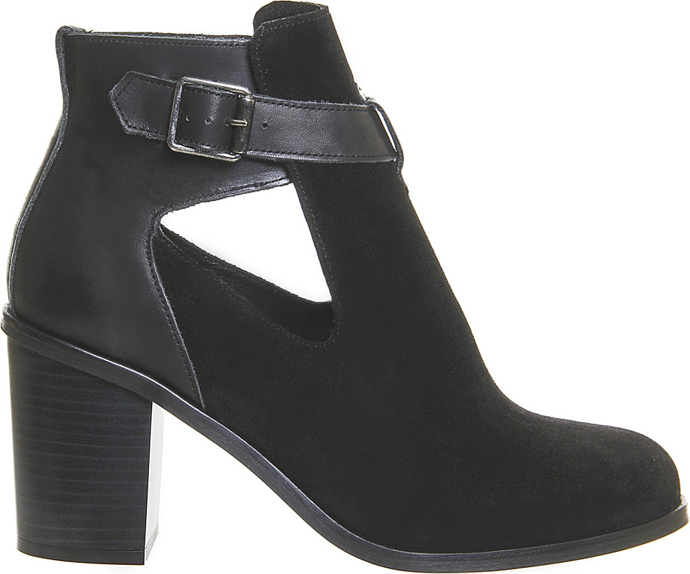 office jade suede cutout heeled ankle boots in black