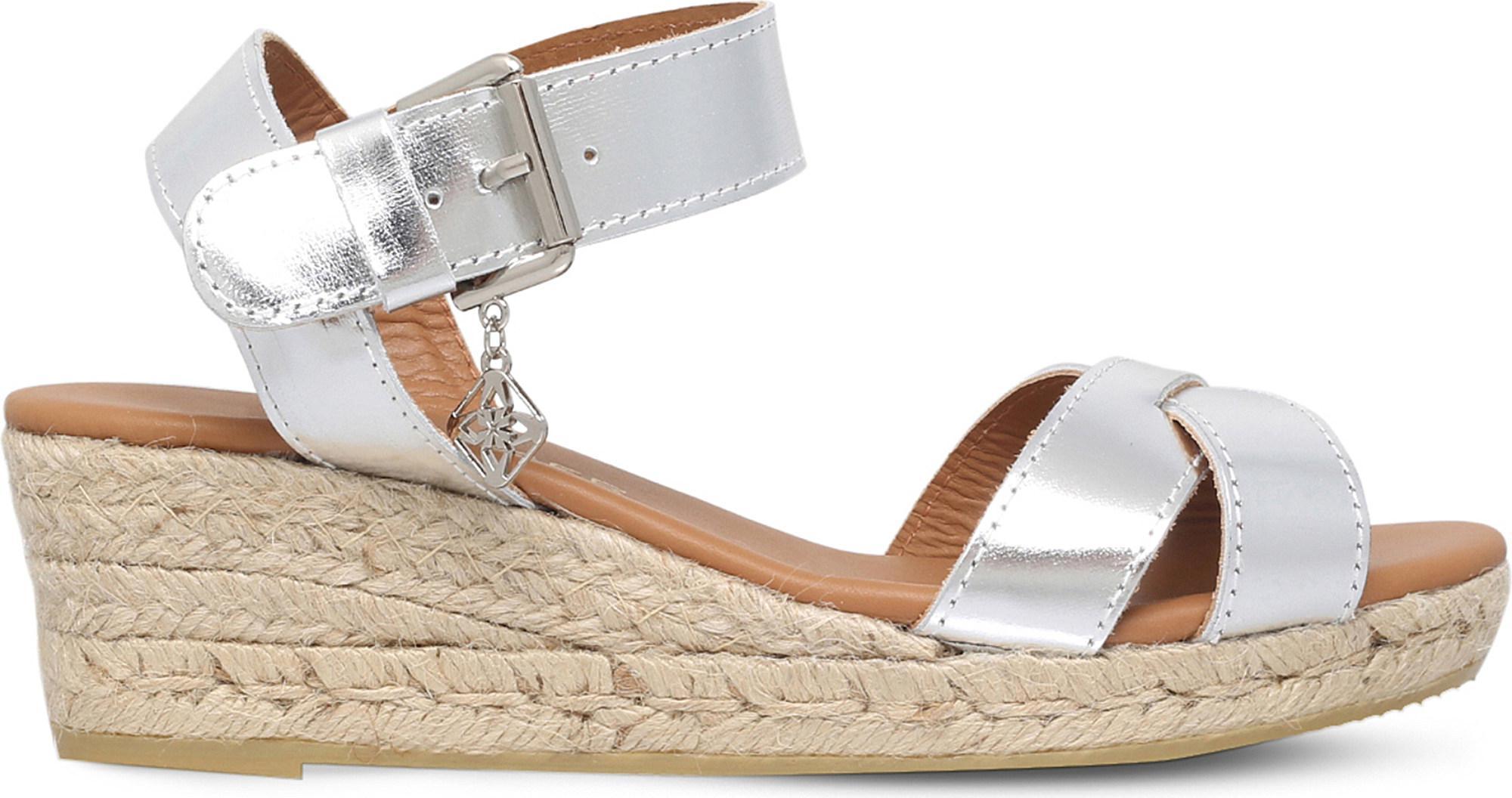 ee246546c42 Kurt Geiger Libby Metallic Leather Wedge Sandals in Metallic - Lyst