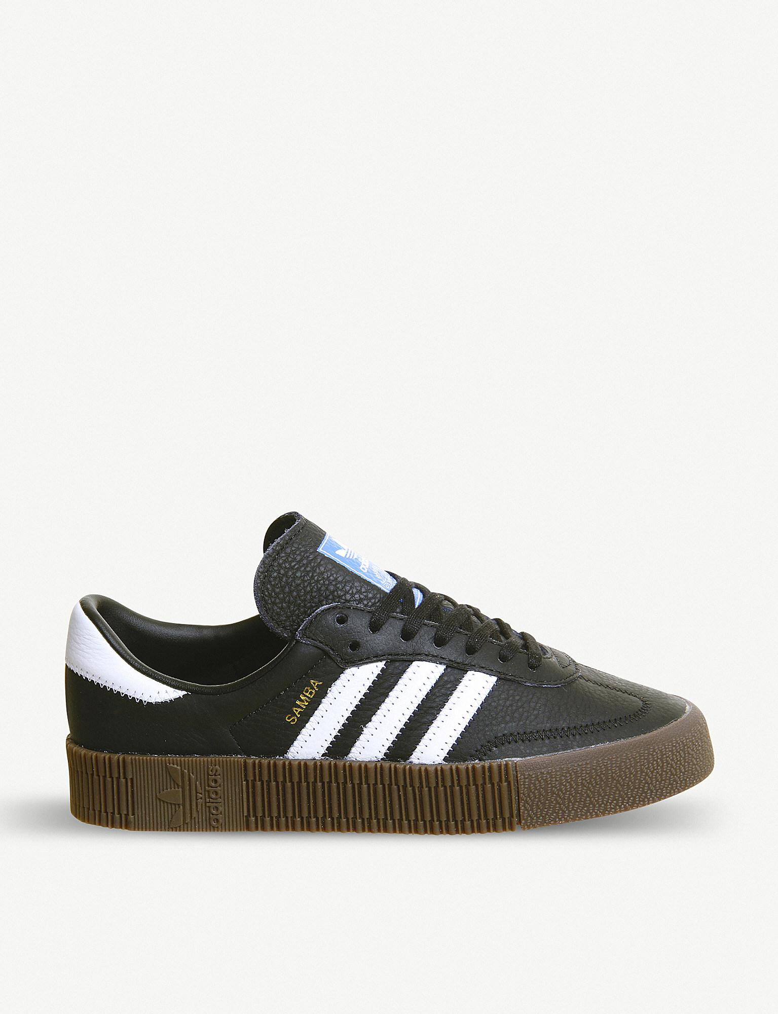7563f134083 Lyst - adidas Black Sambarose Leather Sneakers in Black - Save 19%