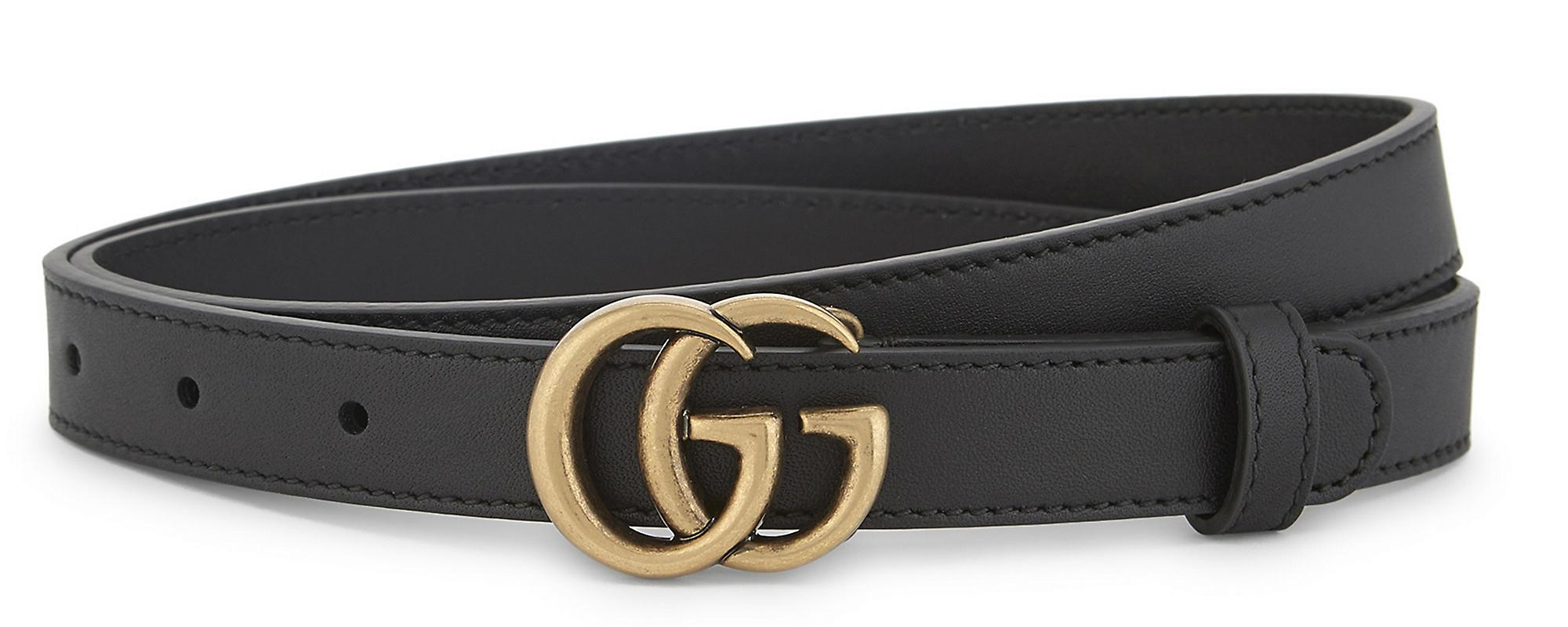 d46cd9f0901 Lyst - Gucci GG Buckle Slim Leather Belt in Black - Save 21%