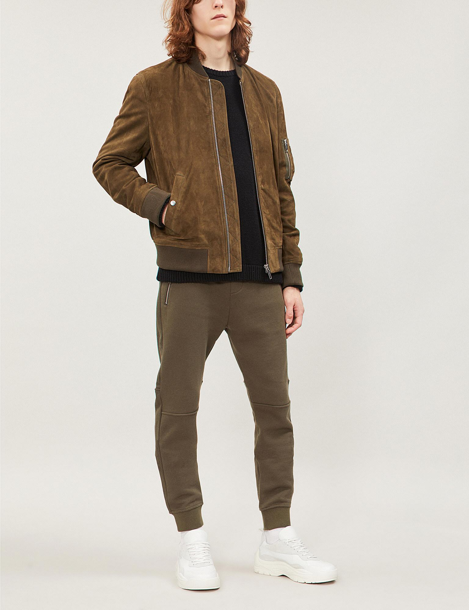 c19b4ca5 The Kooples Zipped Suede Bomber Jacket in Natural for Men - Lyst
