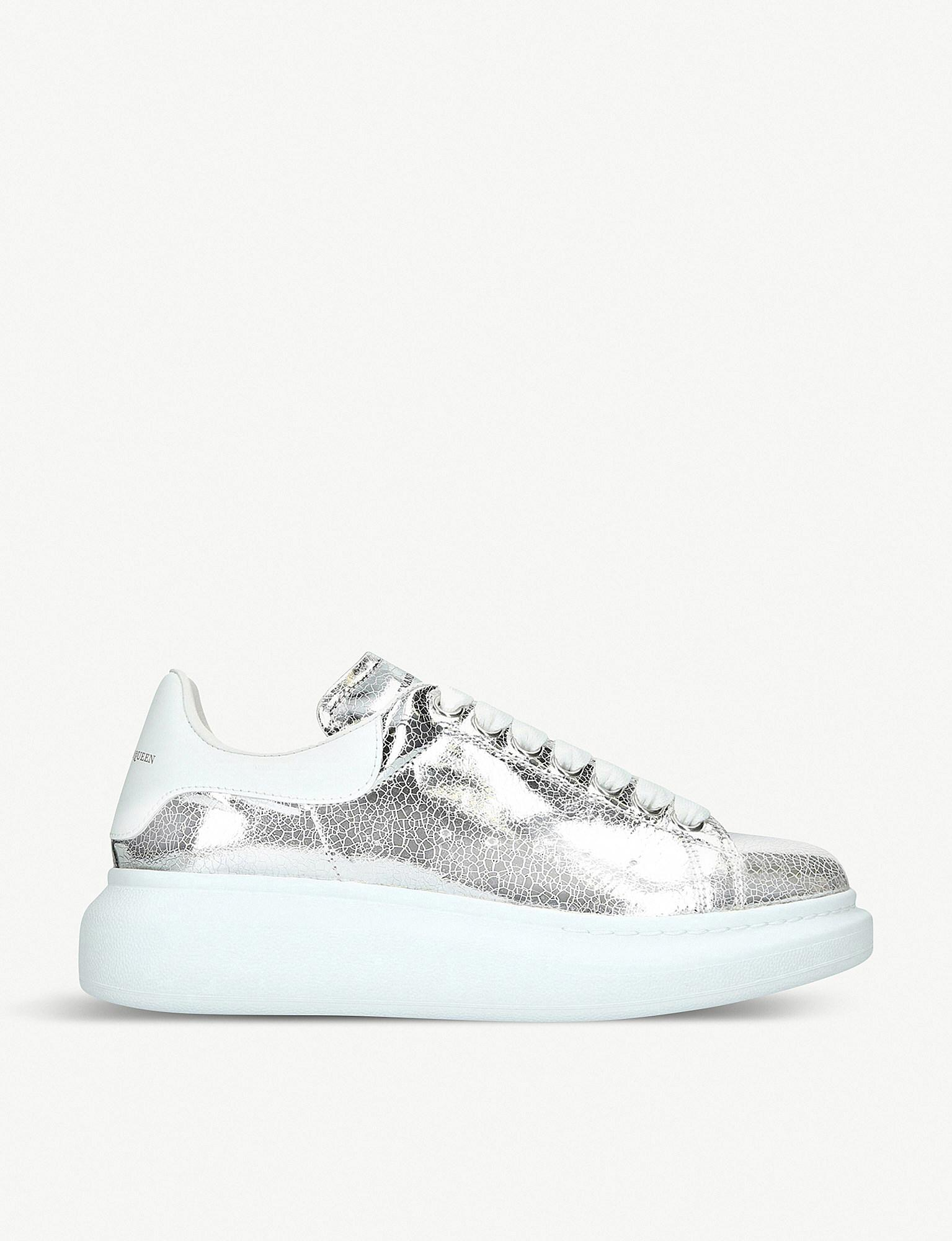 8dd6a2672d0984 Lyst - Alexander McQueen Runway Cracked-metallic Leather Trainers in ...