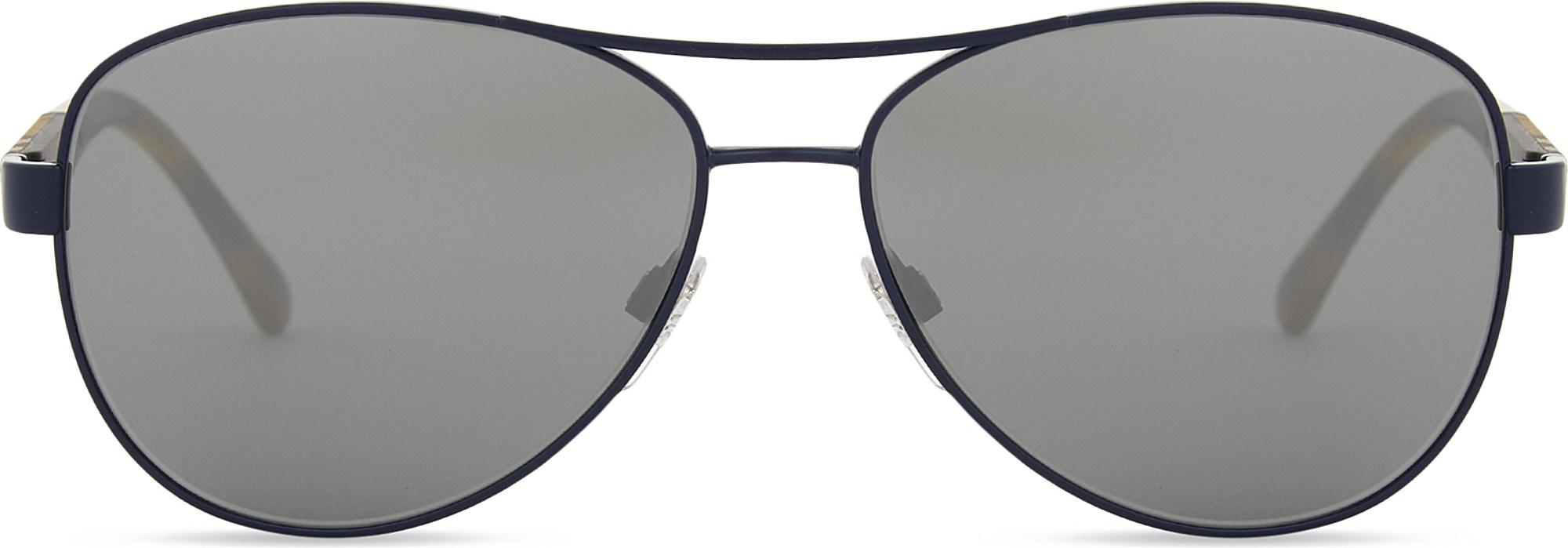4bd3d50ab0a Burberry. Women s Ladies Matte Blue Check Modern Be3080 Aviator Sunglasses