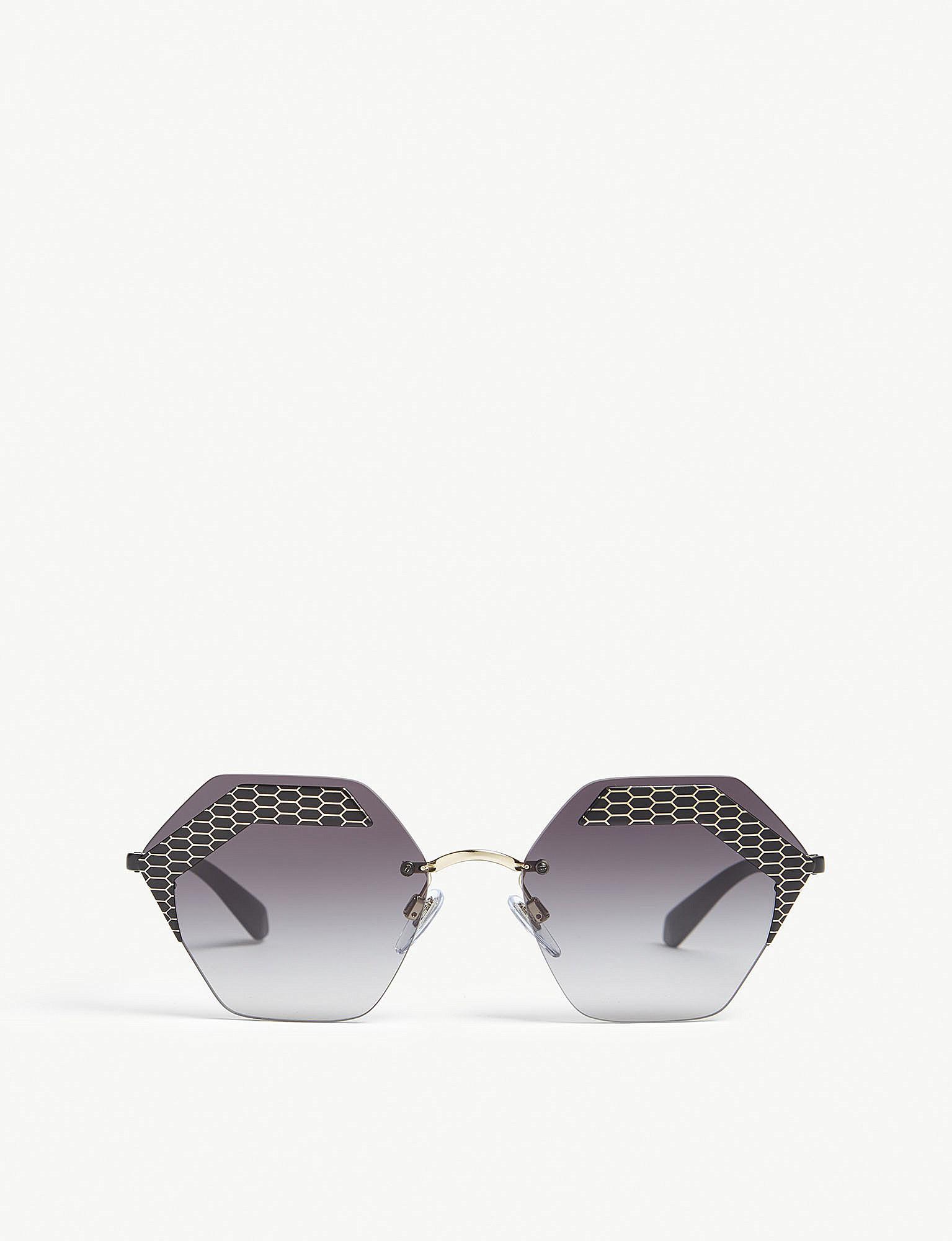 e0cfd4665e716 BVLGARI. Women s Ladies Black Luxury Bv6103 Irregular-frame Sunglasses