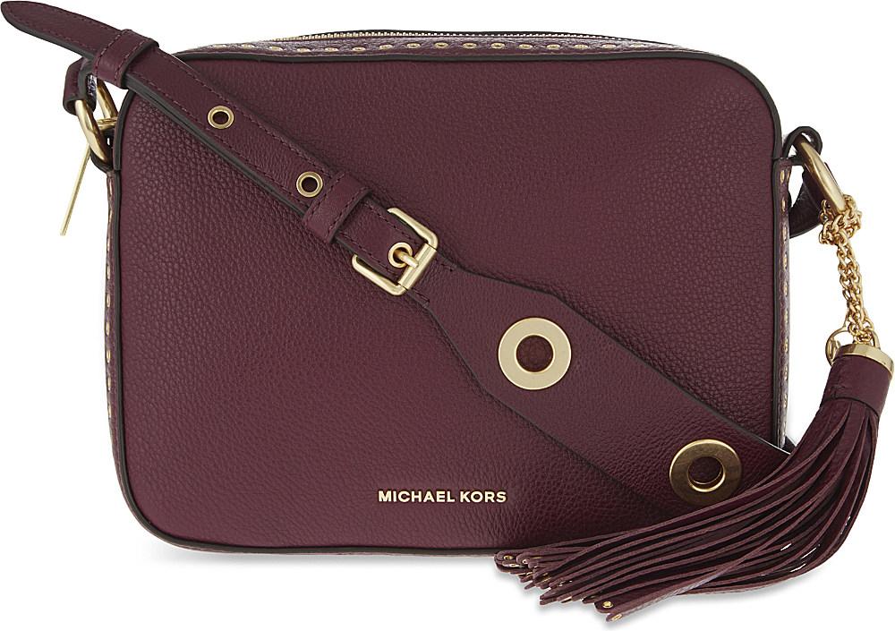 030e6ce7eaf923 MICHAEL Michael Kors Brooklyn Large Leather Camera Bag in Purple - Lyst
