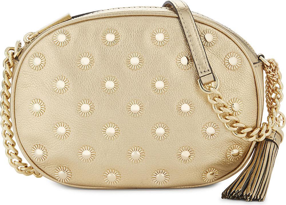 ff10702bc853 Michael Michael Kors Ginny Studded Medium Leather Cross-body Bag in ...