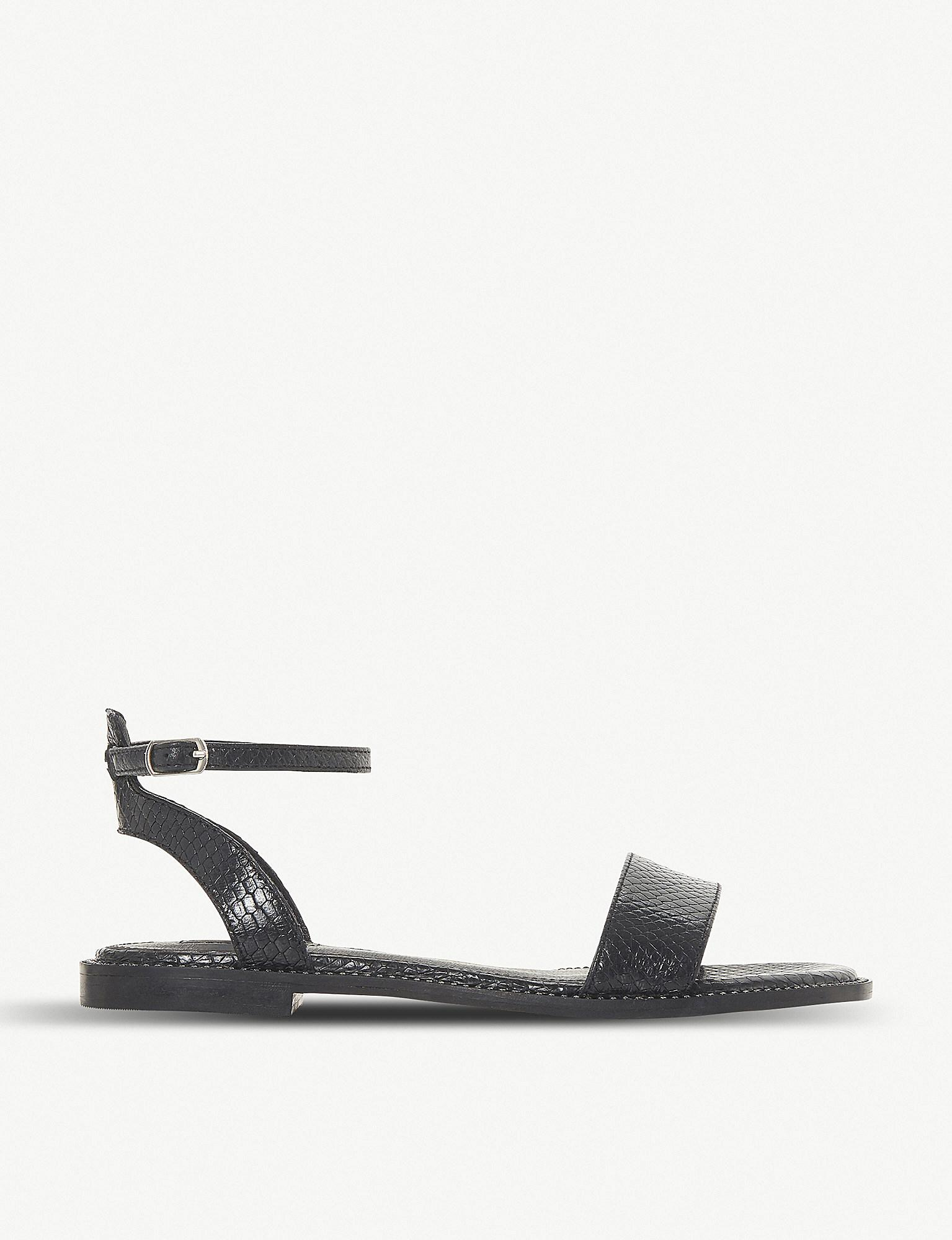 aa8838ccd301 Dune Nance Reptile-effect Leather Sandals in Black - Lyst