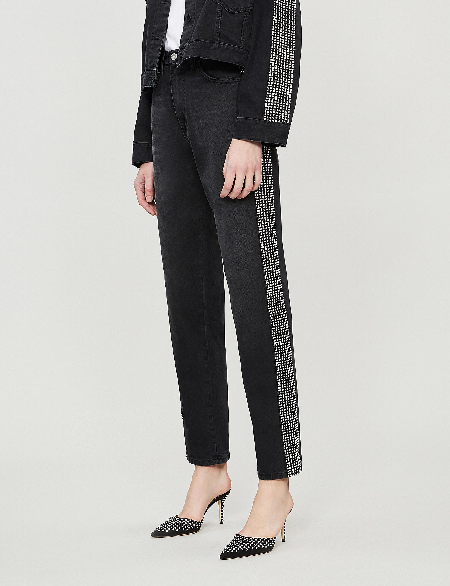 Kane Christopher Crystal High Rise Straight Jeans Embellished In cR5AjqLS34