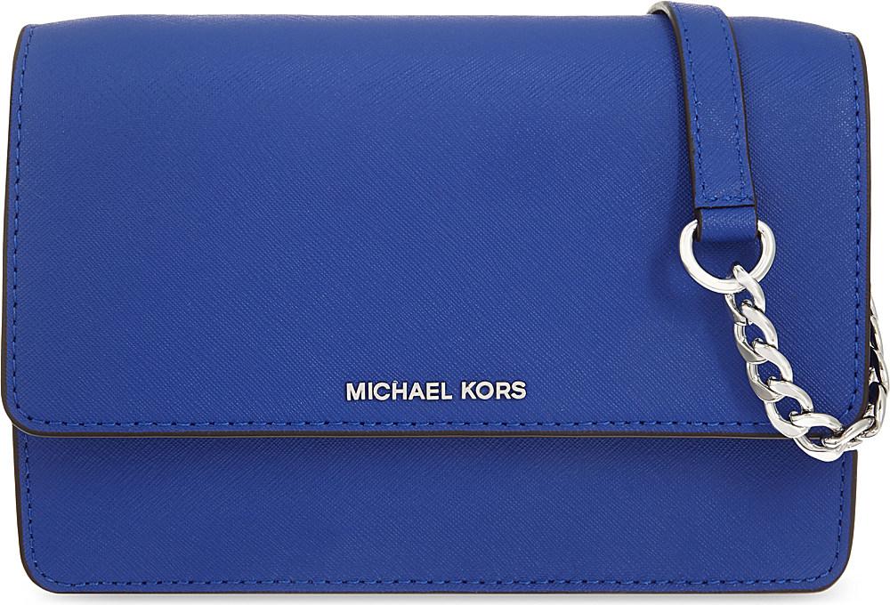 051a58229b35 MICHAEL Michael Kors Daniela Small Leather Cross-body Bag in Blue - Lyst