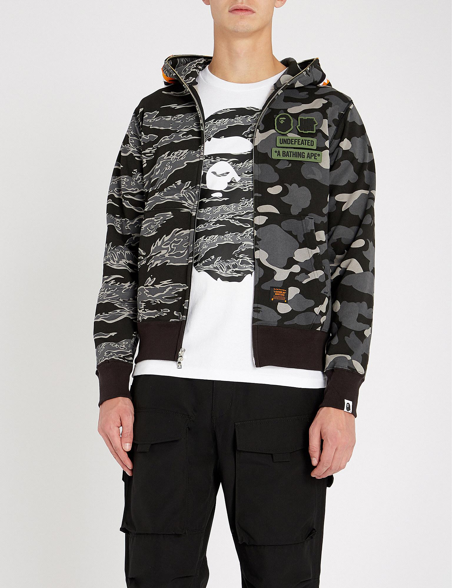 0a5b5db2 A Bathing Ape Undefeated Shark Tiger Cotton-jersey Hoody in Black ...
