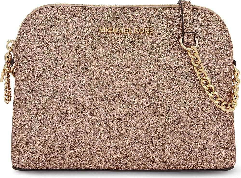 Lyst Michael Kors Alex Large Glitter Cross Body Bag. Michael Kors Rose Gold  ... 939d0e74c