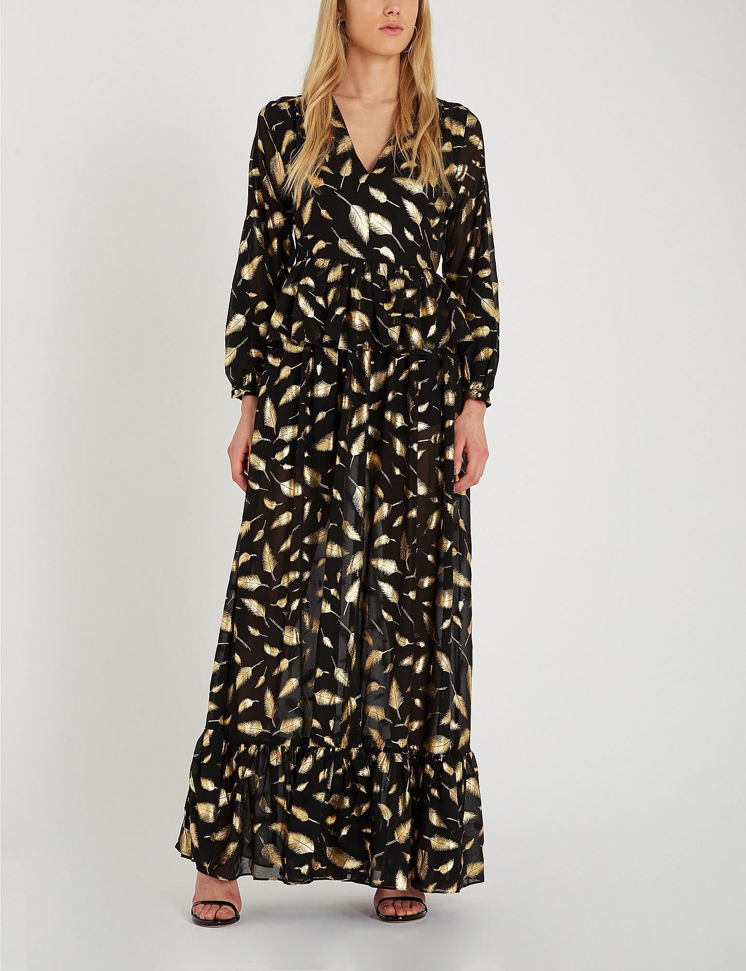 6066e2e8542db1 Forever Unique Metallic Gold Leaf Print Maxi Dress in Black - Lyst