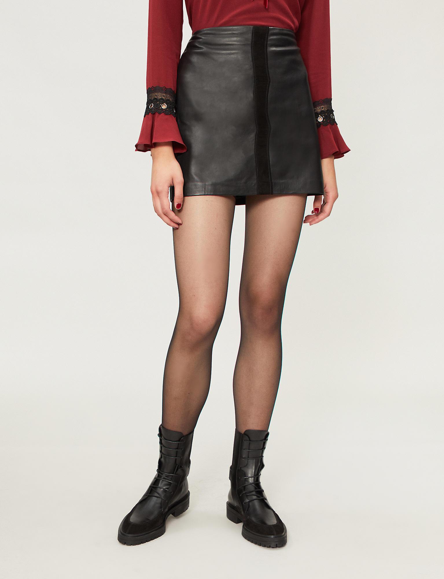 f78f9995b3 Pinko - Black Sonda Leather Mini Skirt - Lyst. View fullscreen