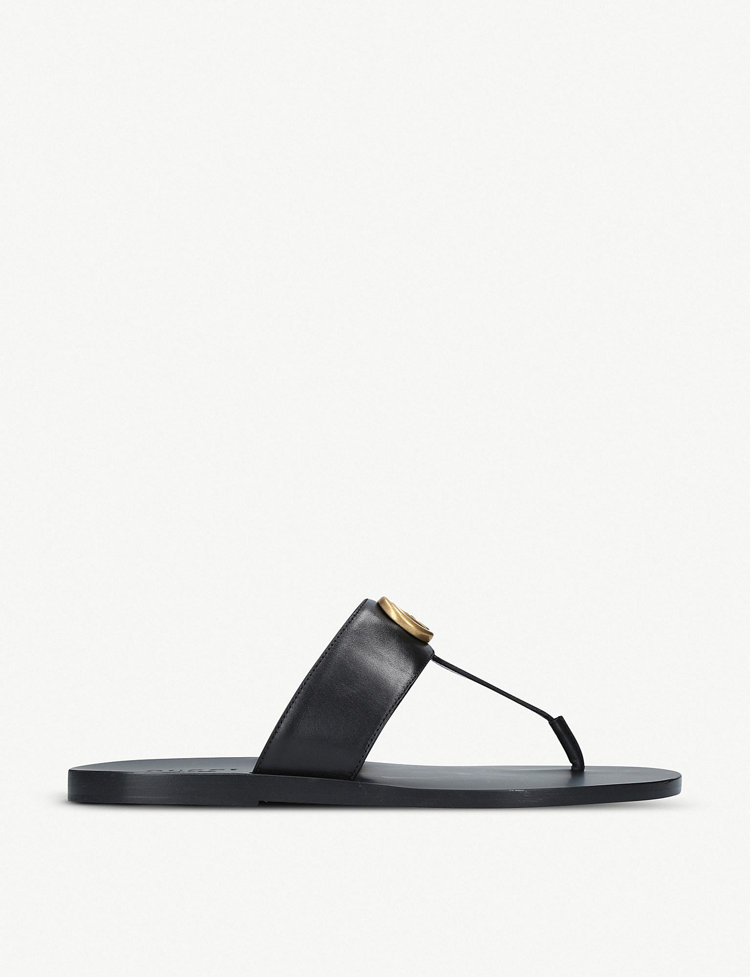 b0577a5908da Gucci Leather Thong Sandal With Double G in Black for Men - Lyst