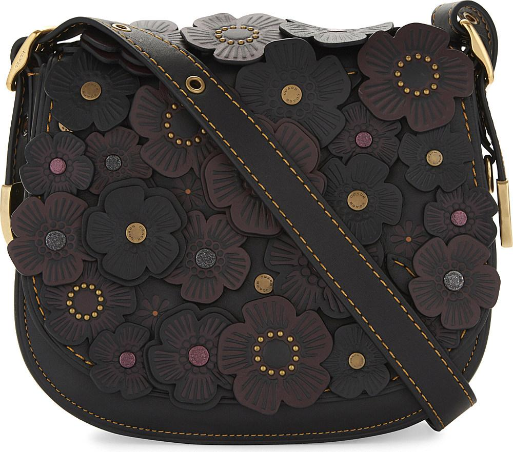 Lyst - COACH Tea Rose 23 Leather Saddle Bag in Black b00e8870f915f