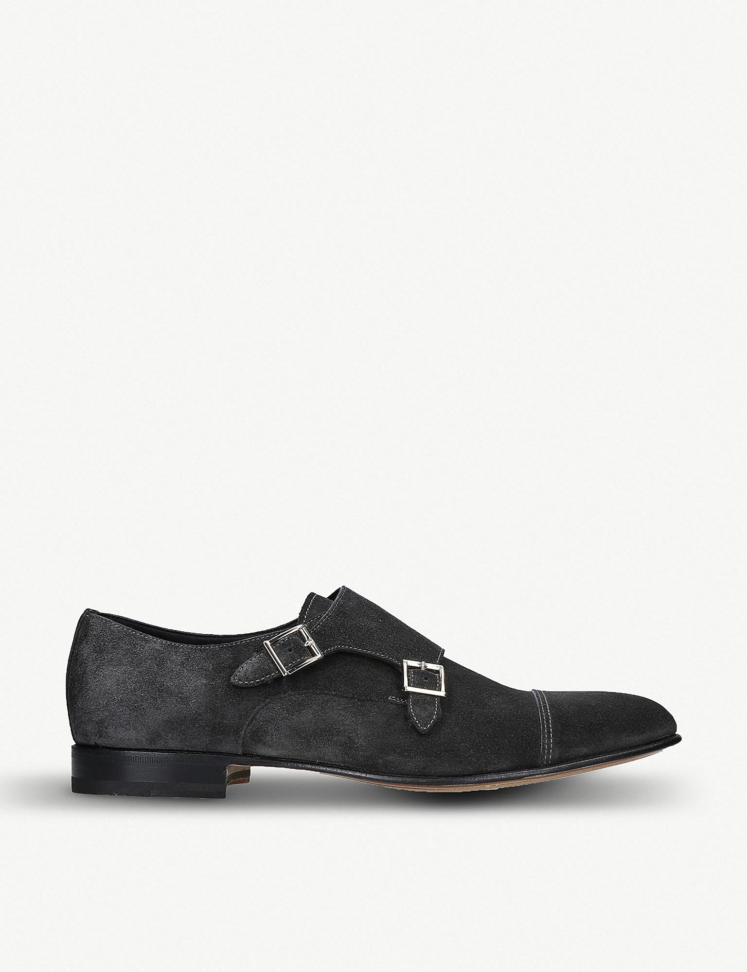 f760481338c91f Lyst - Santoni Kenneth Suede Double Monk Strap Shoes in Gray for Men