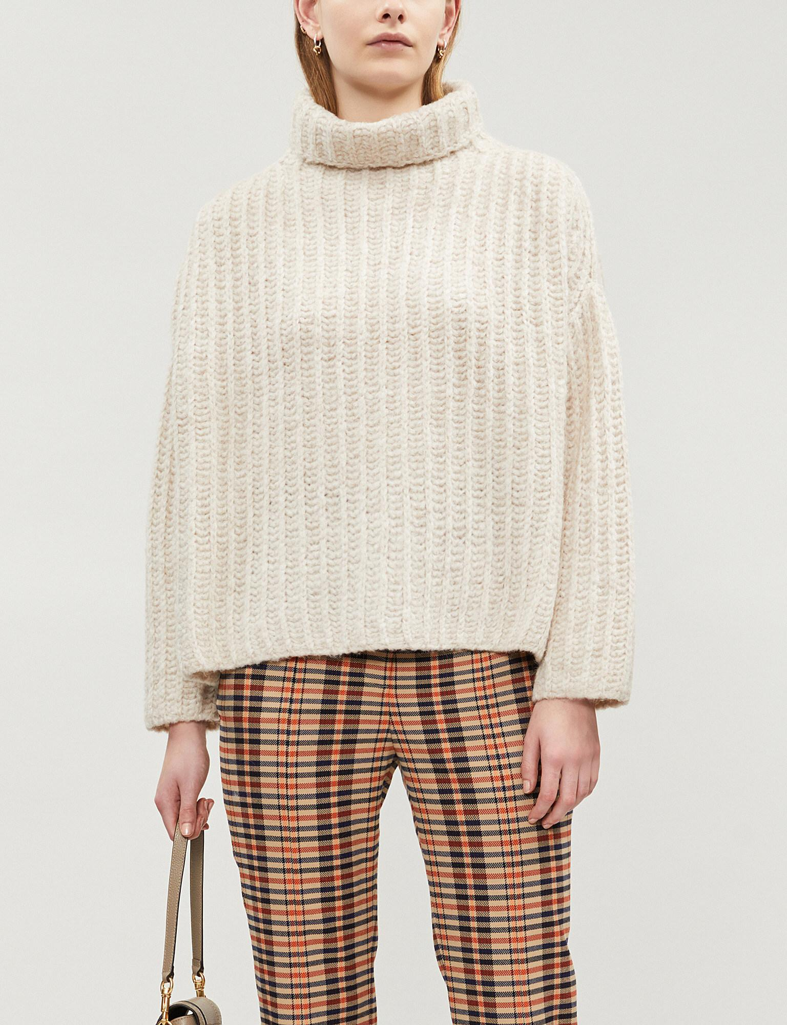 ac2800431842b5 Lyst - Free People Fluffy Fox Ribbed-knit Turtleneck Jumper in White