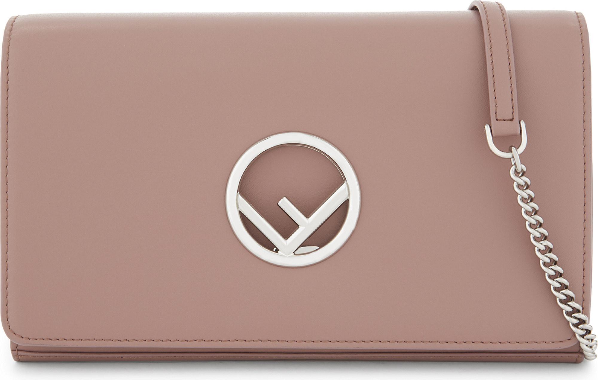 874e1f51b04d Lyst - Fendi Logo Leather Clutch in Pink