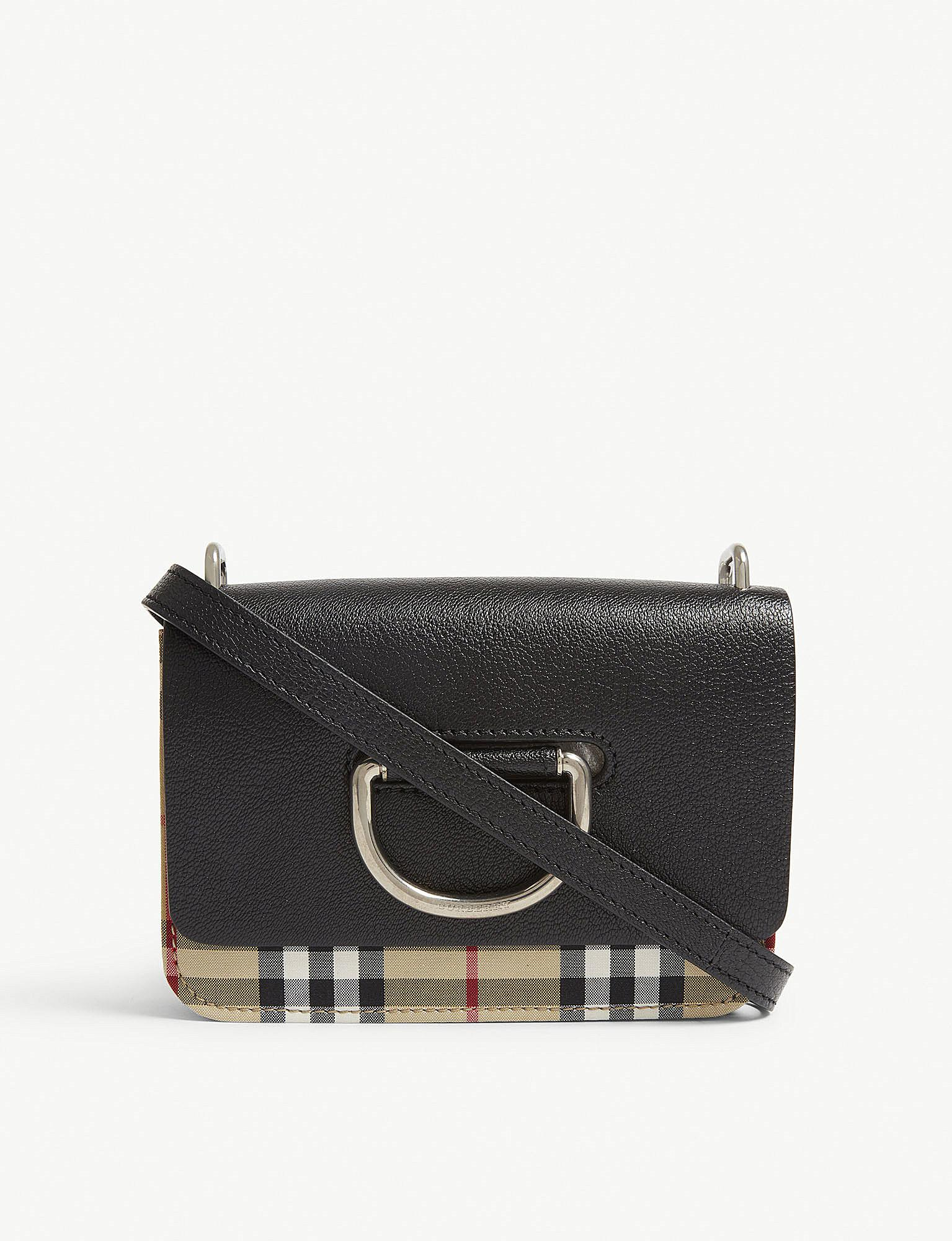 Lyst - Burberry Black Check The Mini Vintage Leather Cross Body Bag ... 458a0c9f96454