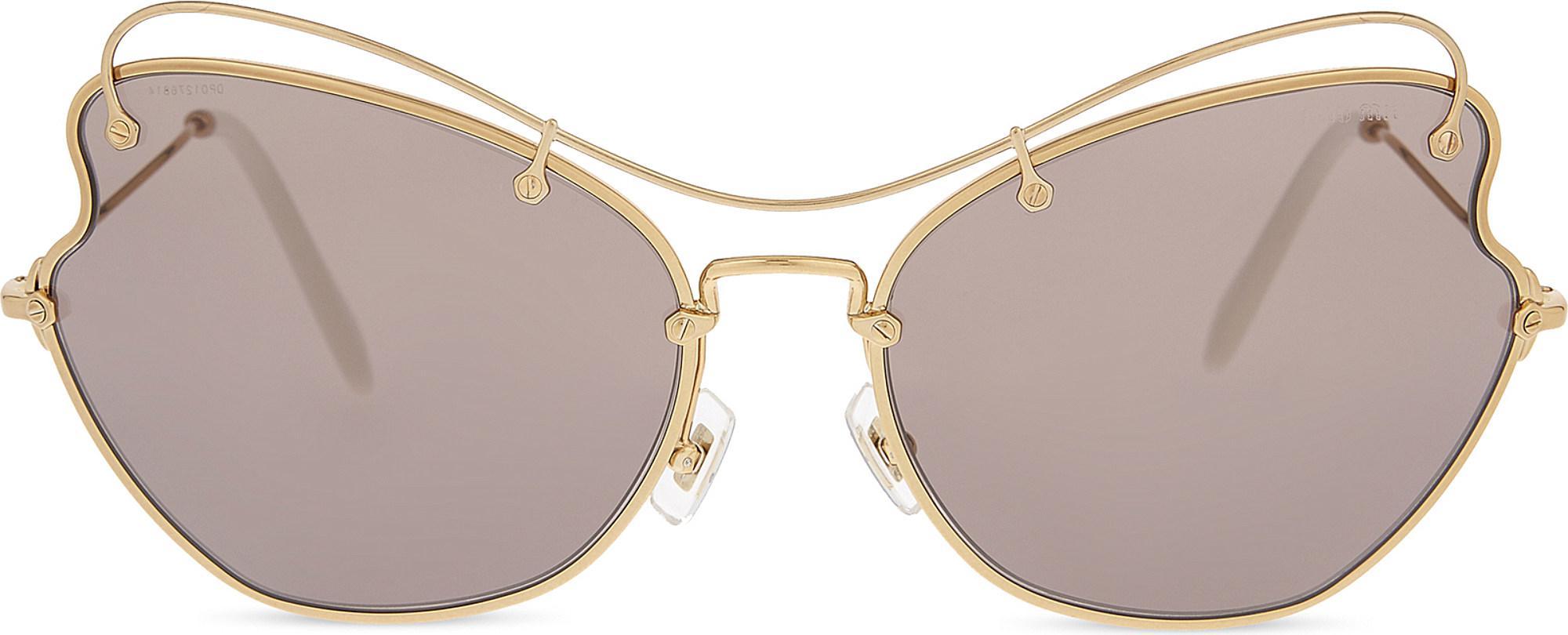 002b0382e0b Lyst - Miu Miu Mu56rs Scenique Butterfly-frame Sunglasses in Metallic