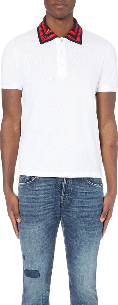 f7550d0637b Lyst - Gucci Crochet-collar Cotton-piqué Polo Shirt in White for Men