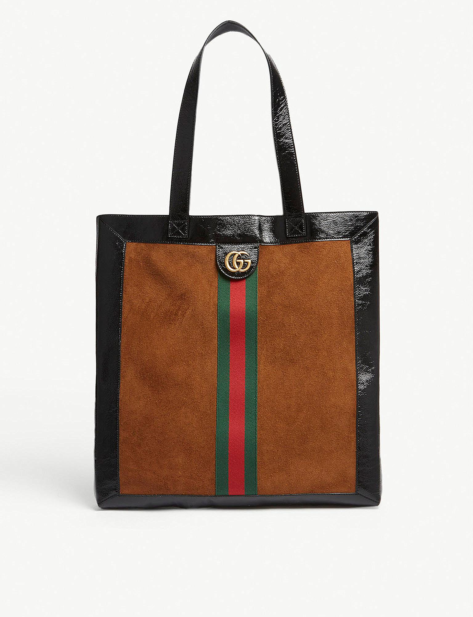 f3a800ab212 Lyst - Gucci Webbing Suede And Patent Leather Tote in Brown