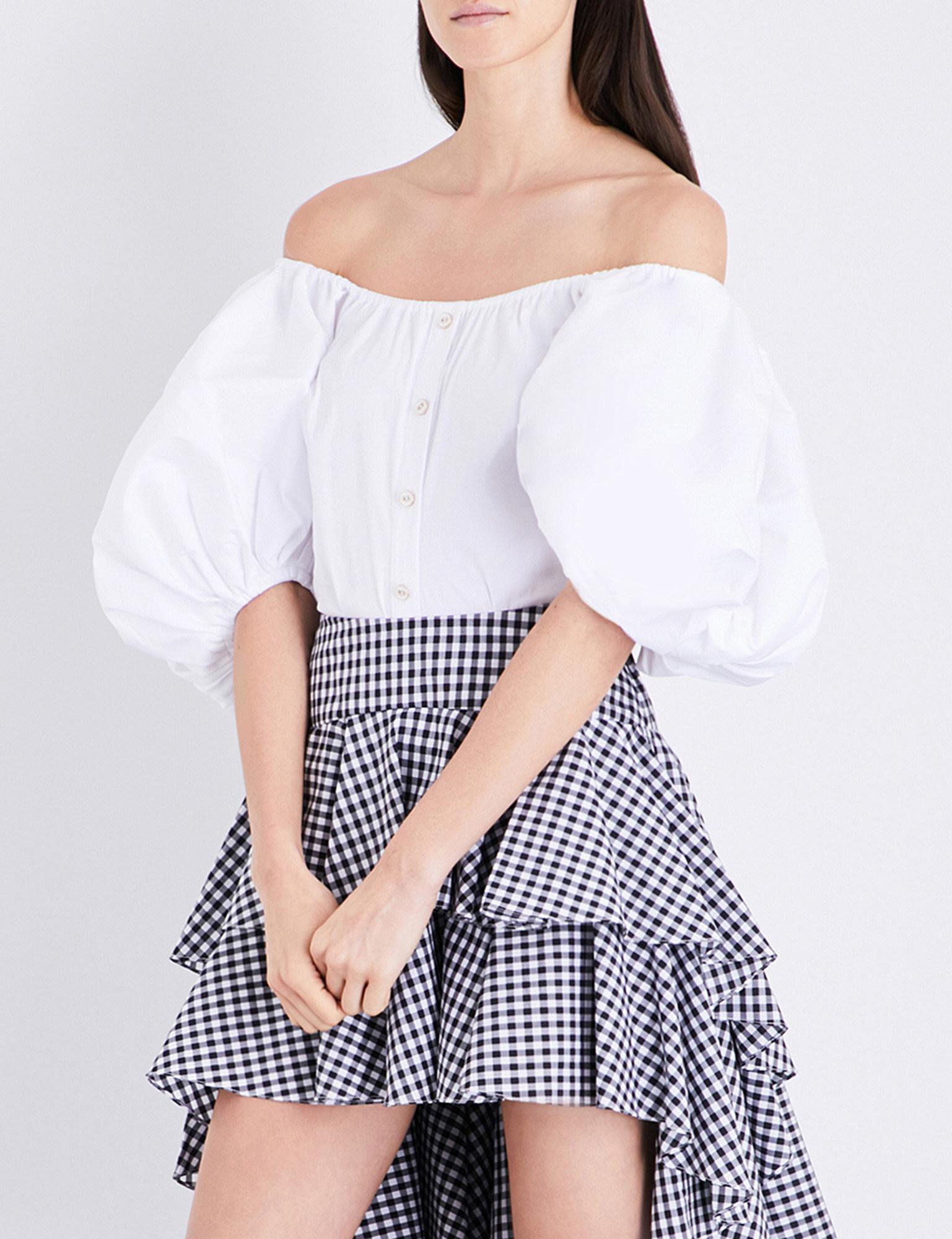 bc946d61db2af9 Lyst - Caroline Constas Jolie Off-the-shoulder Cotton-blend Top in White