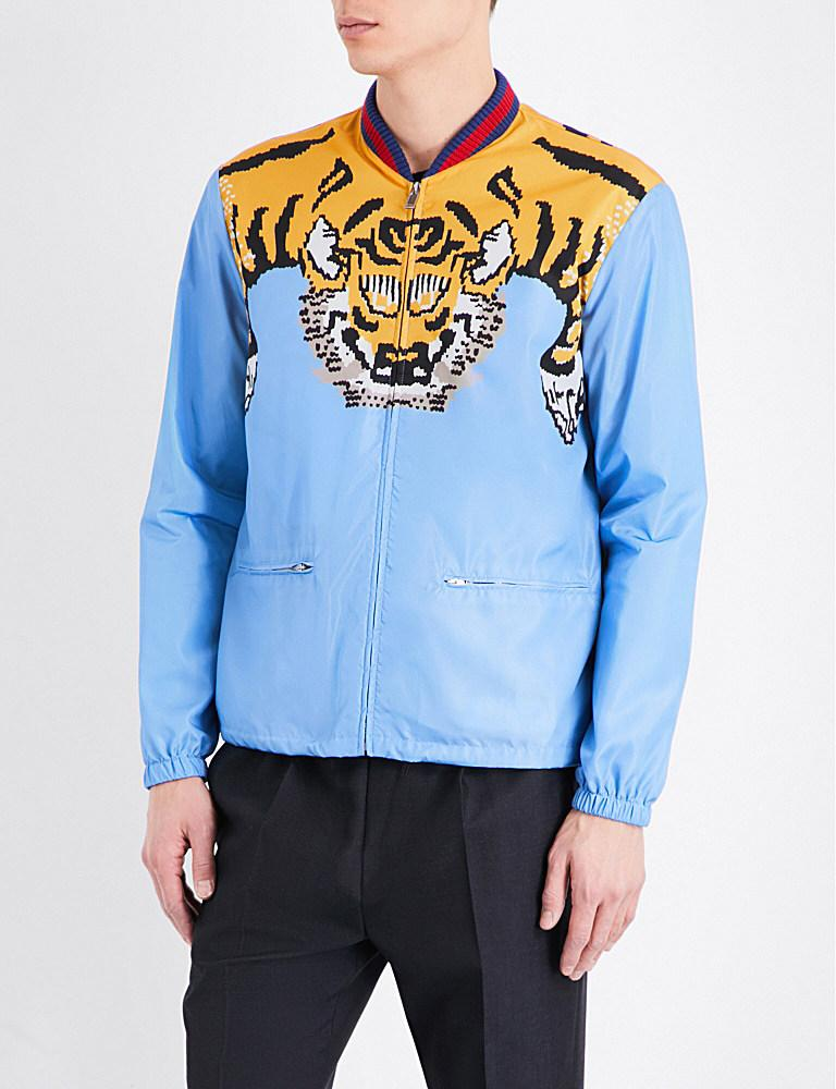 10a4f08e1 Gucci Tiger-graphic Shell Bomber Jacket in Blue for Men - Lyst