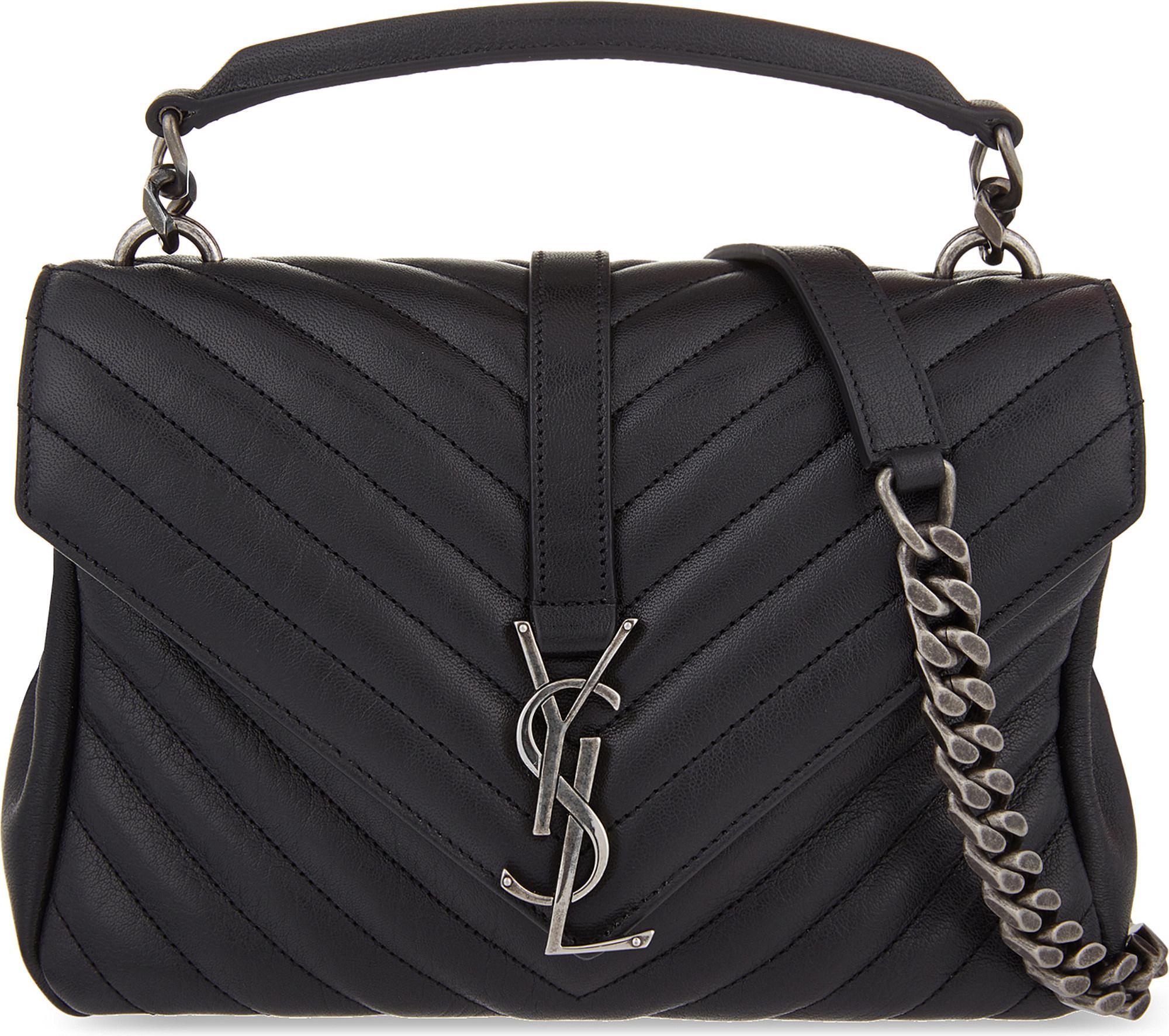 Saint Laurent. Women s Black Monogram College Small Quilted Leather Shoulder  Bag 4121920b8144a