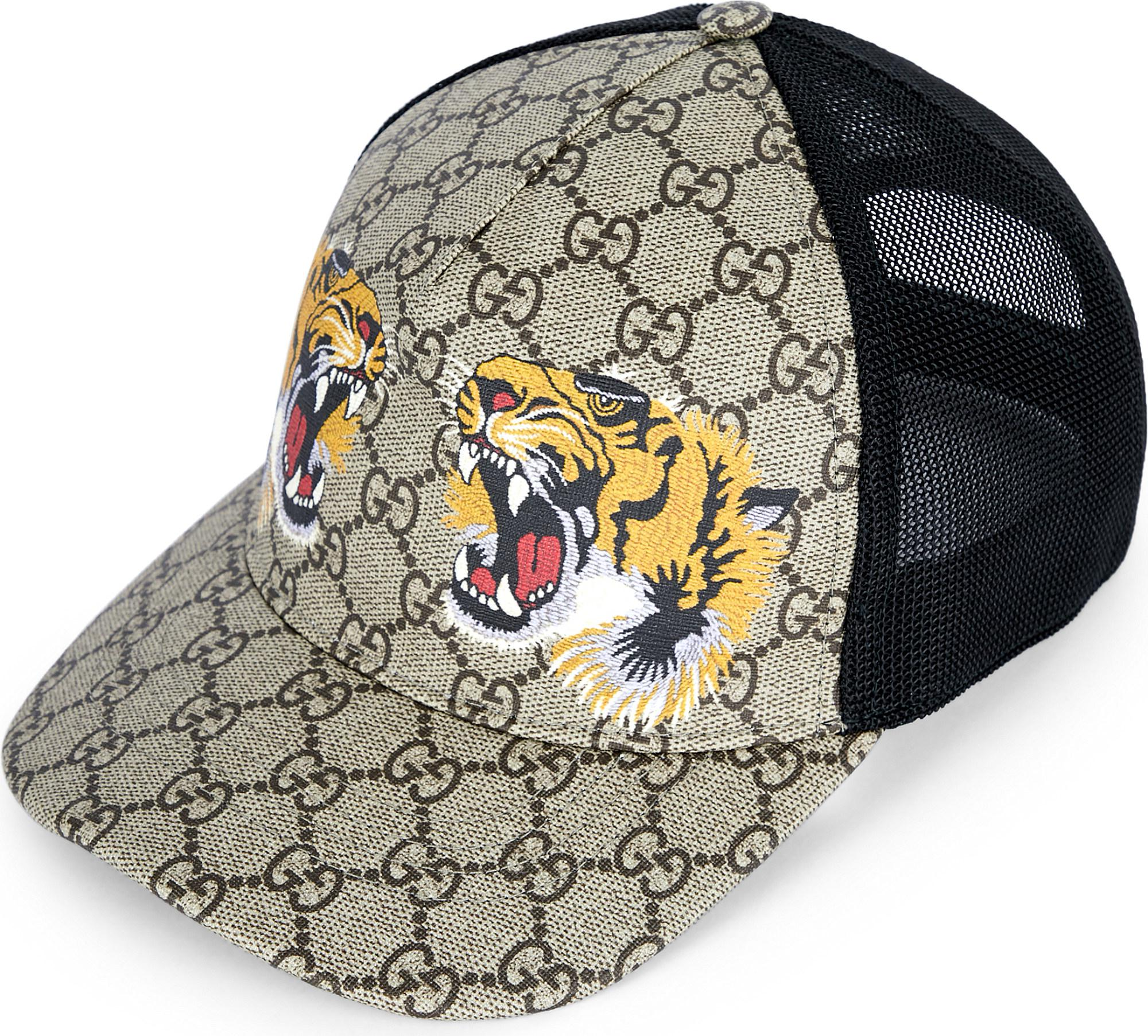 b57d4c8be185 Lyst - Gucci Twin Tigers Canvas Baseball Cap in Natural for Men