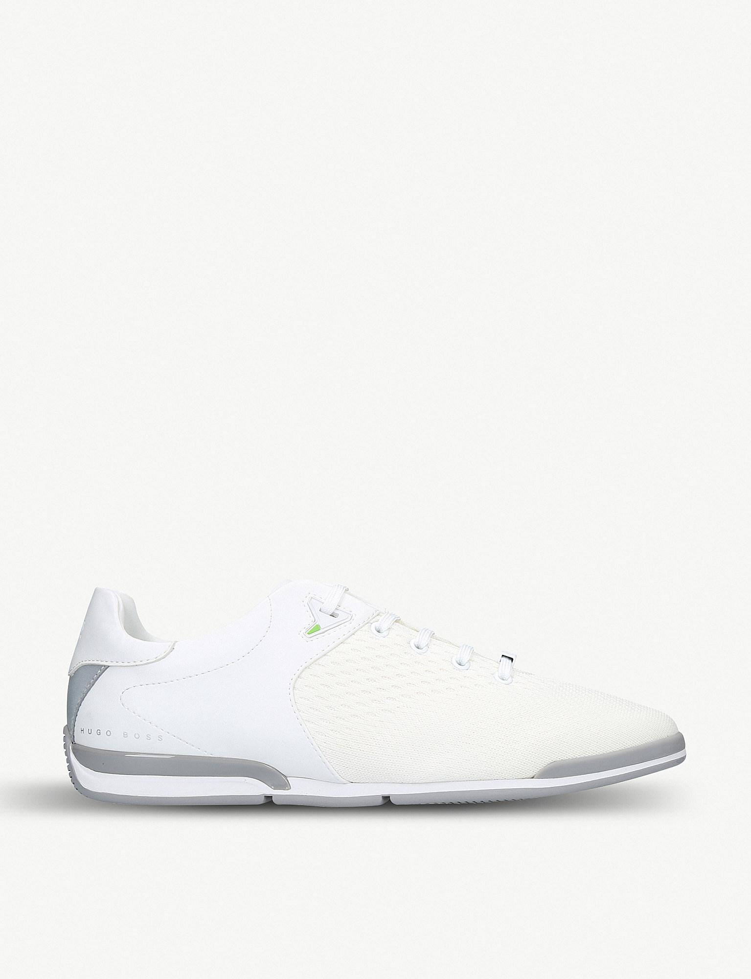 085e5b79079f BOSS Saturn Leather And Mesh Trainers in White for Men - Lyst