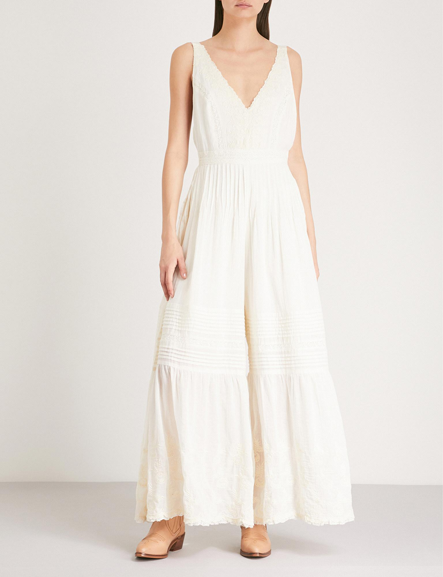 f89495739937 Lyst - Free People Paloma Wide-leg Cotton Jumpsuit in White