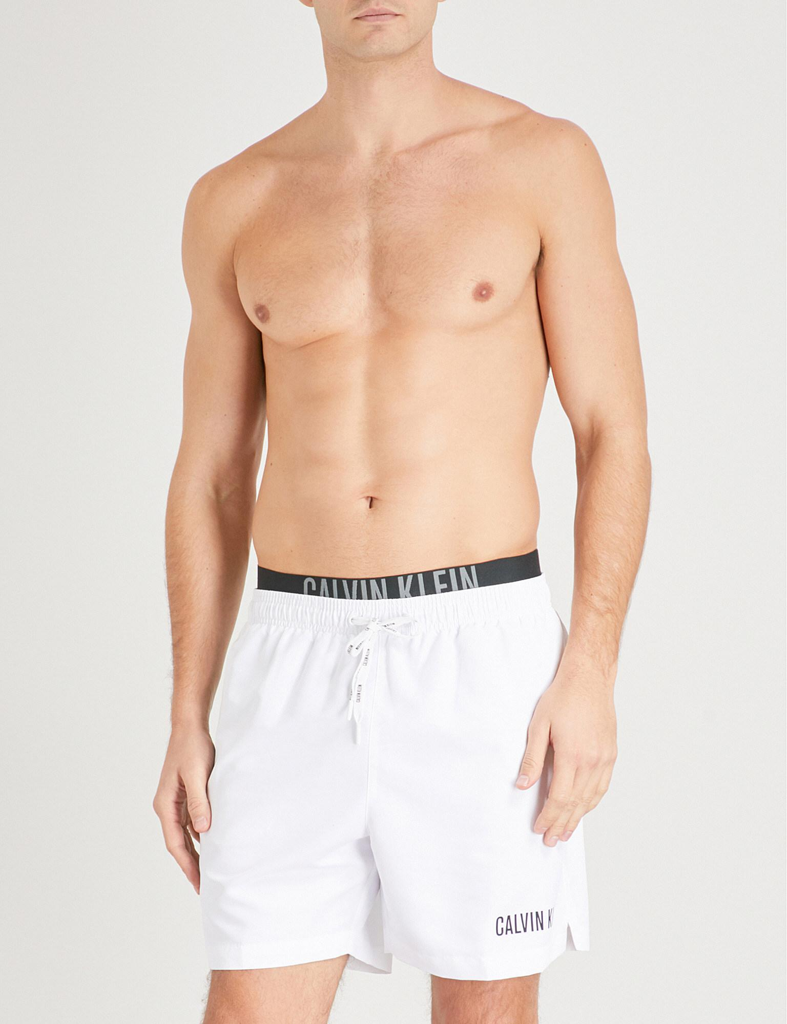 a35f19beff Calvin Klein Intense Power Double-waistband Swim Shorts in White for ...