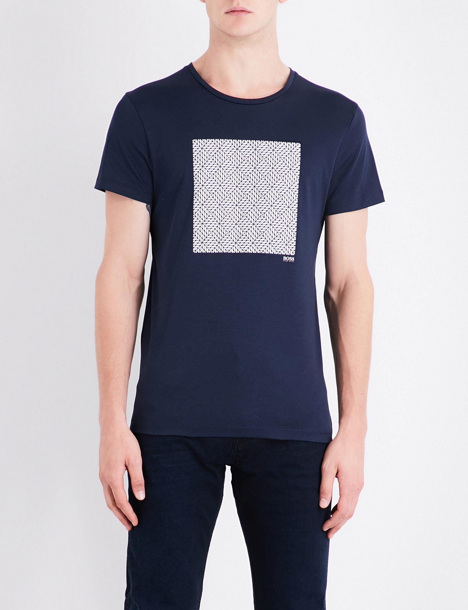 Featured. BOSS | Blue Geo-print Cotton-jersey T-shirt ...