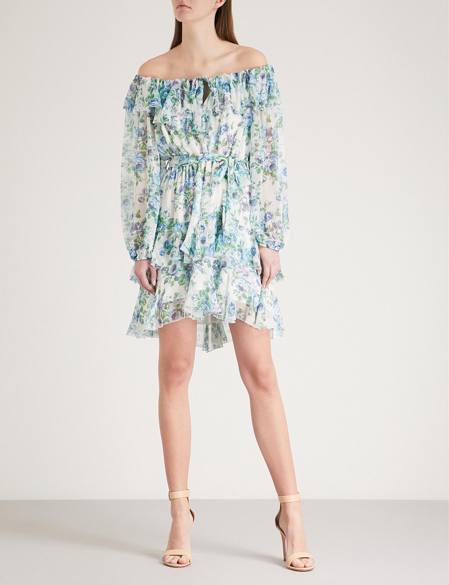3935642024d Lyst - Zimmermann Breeze Off-the-shoulder Silk-georgette Mini Dress ...