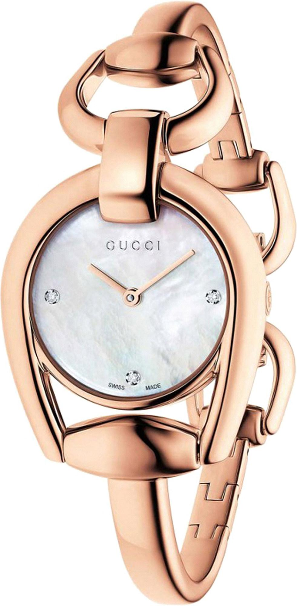 6e31386c5f4 Gucci. Women s Pink Ya139508 Horsebit Rose-gold And Mother-of-pearl Watch