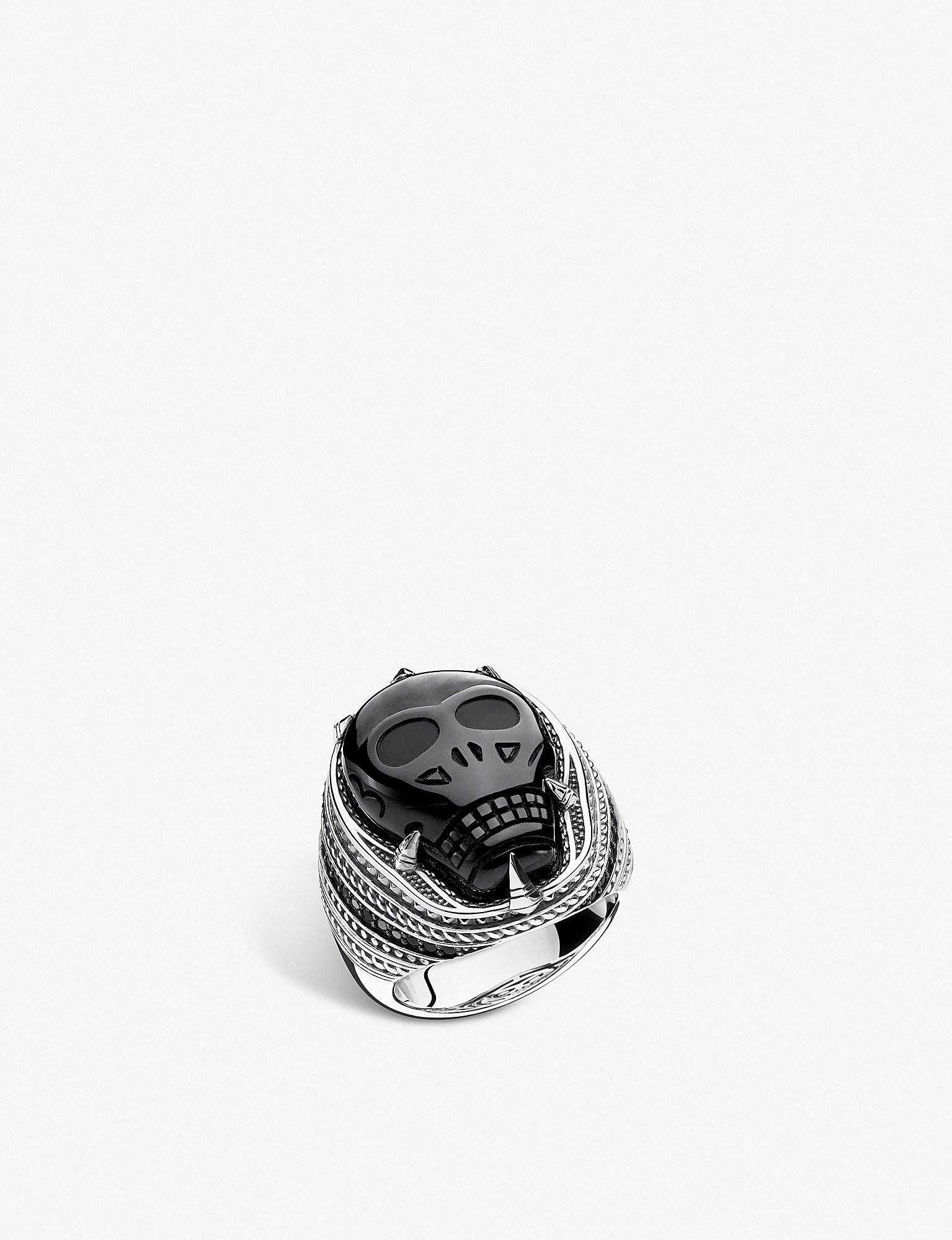 77cedaa4d616 Thomas Sabo. Men s Metallic Onyx Skull Sterling Silver Signet Ring