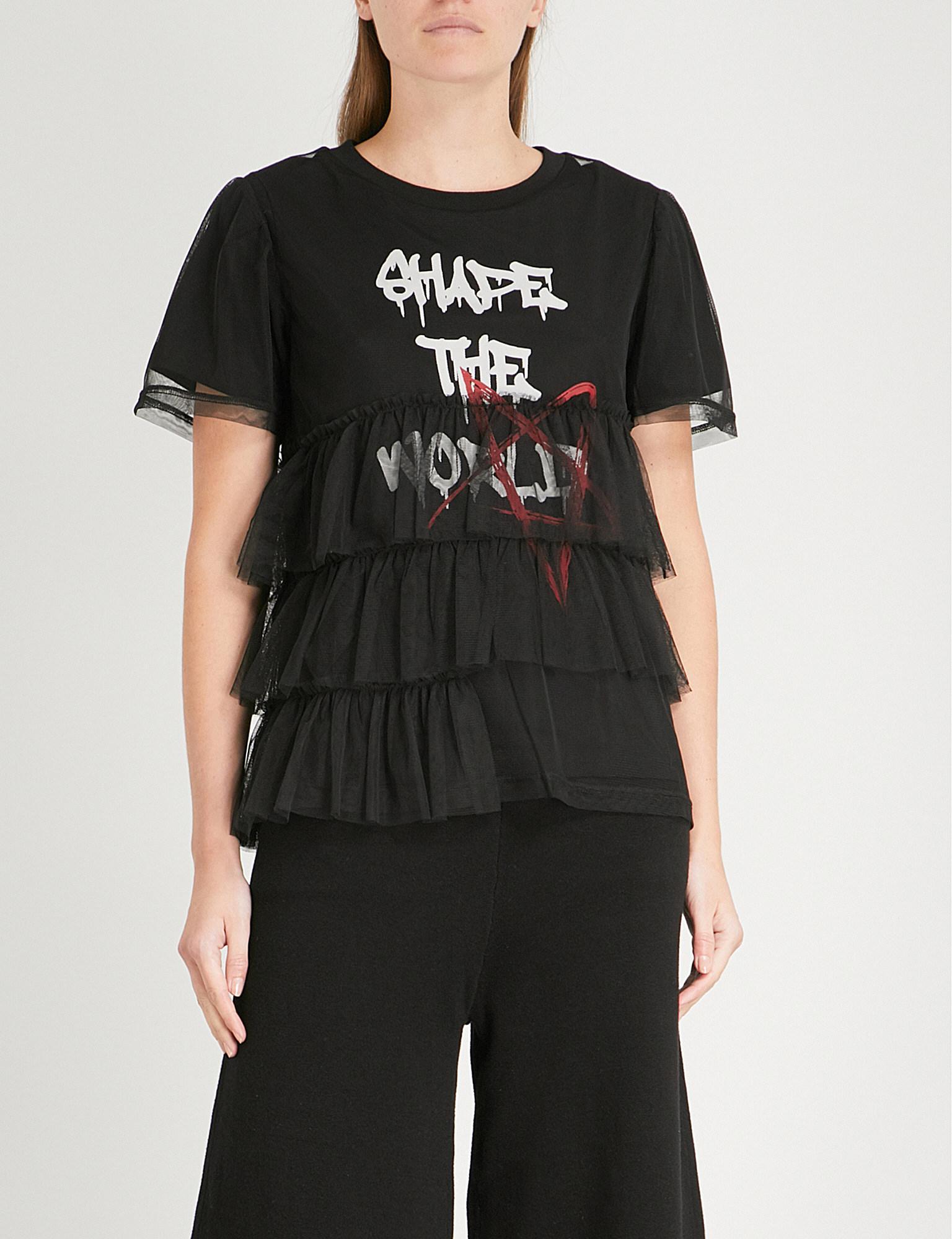Aape Text-print Cotton-jersey And Mesh T-shirt in Black - Lyst 85084e7da8cc