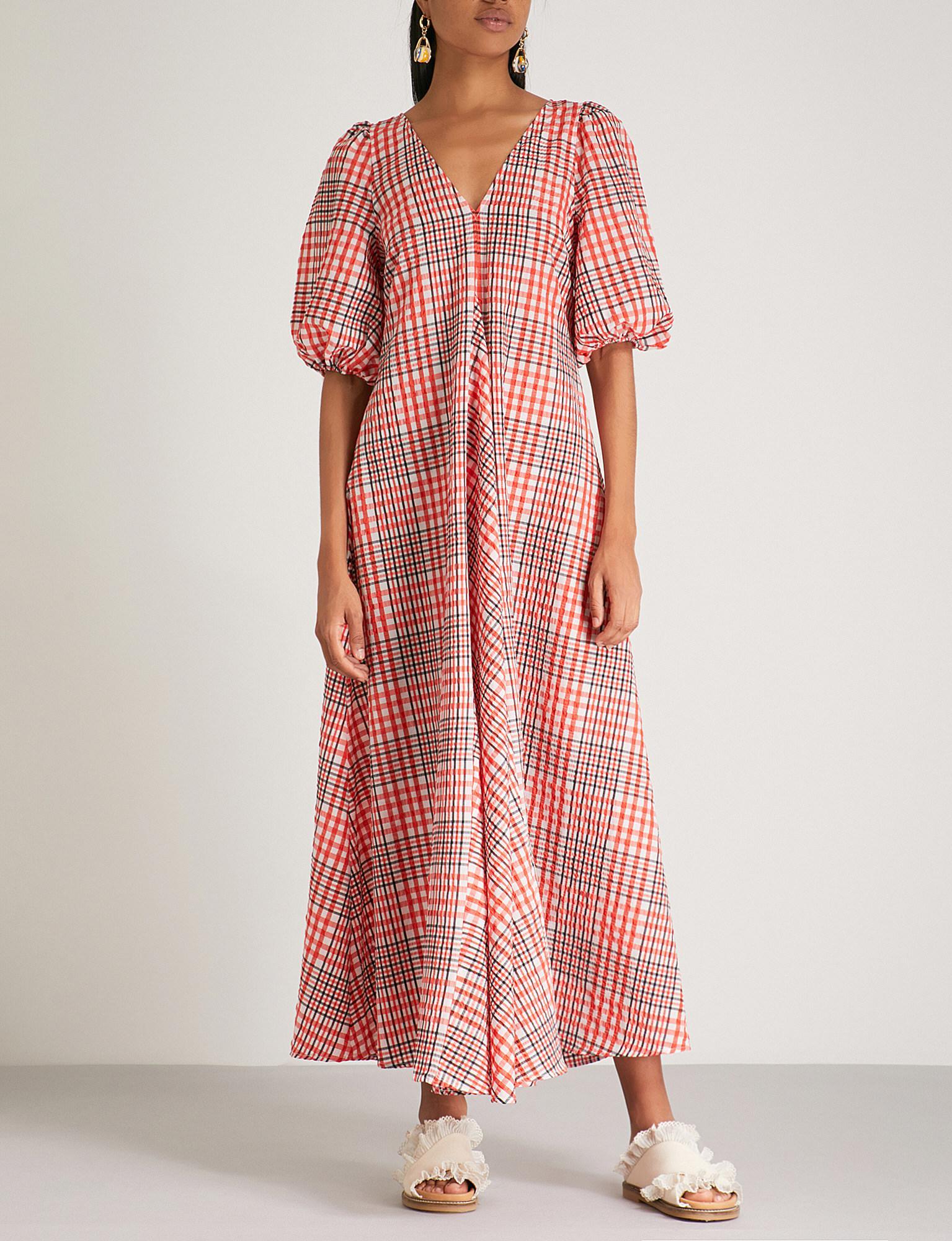 a2a3d66a Ganni Charron Cotton-blend Maxi Dress in Red - Lyst