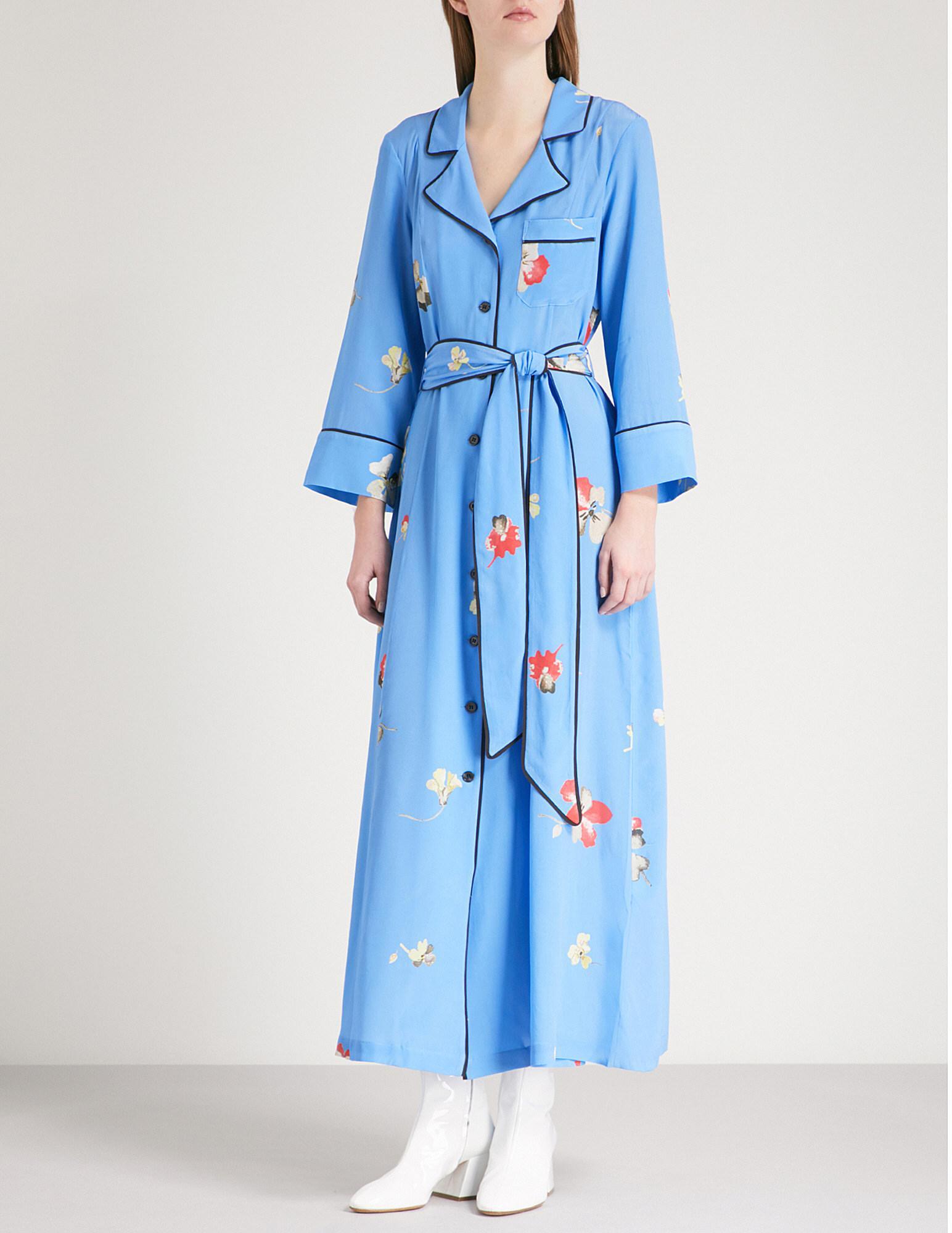69690444 Ganni Joycedale Floral-print Silk Dress in Blue - Lyst