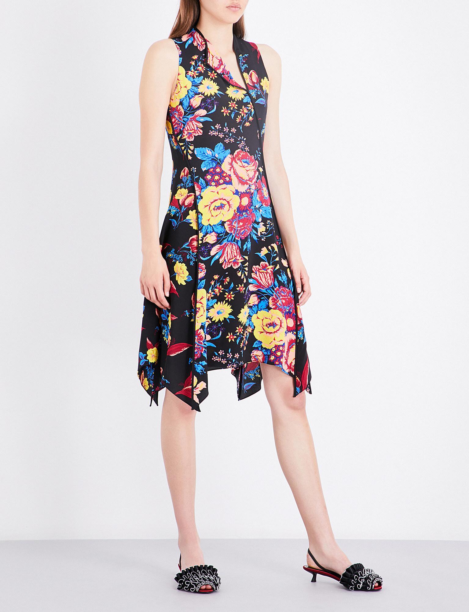 067413a09618 Lyst - Diane von Furstenberg Floral Bias-cut Silk Dress in Black