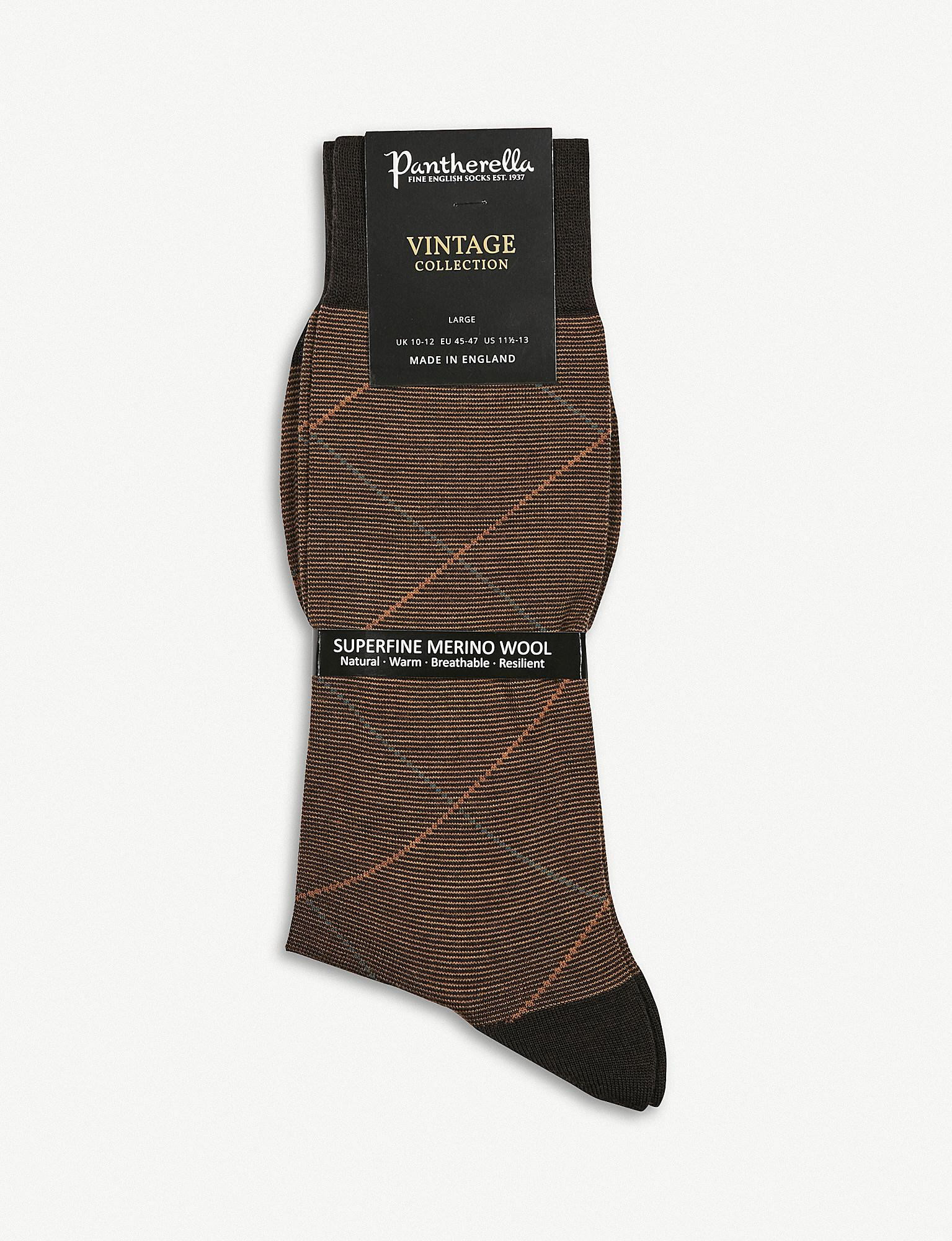 3b1a52d23e2 Pantherella Diamond Stripe Wool-blend Socks in Brown for Men - Lyst