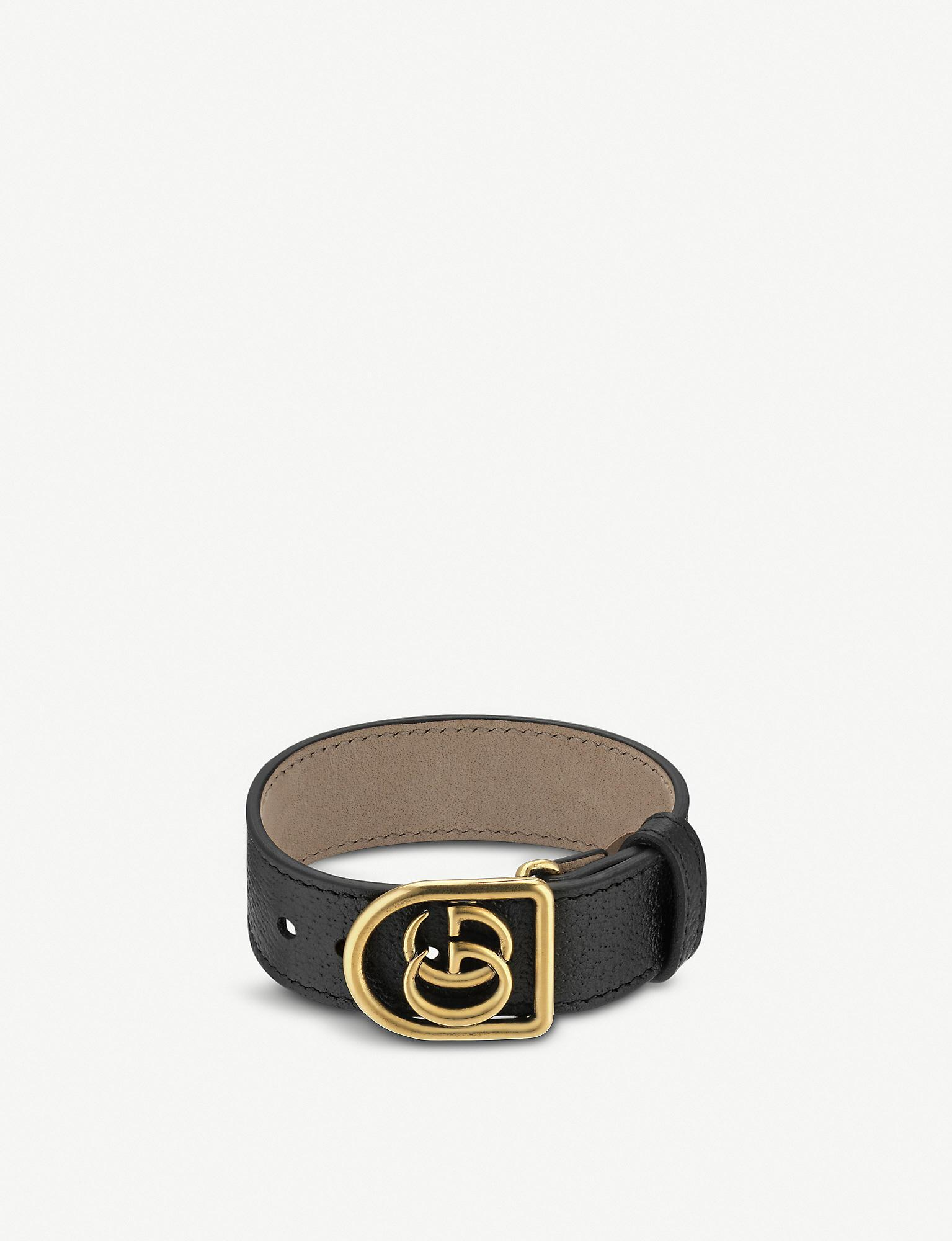 514bad219 Gucci Bracelet In Leather With Double G in Black - Save 13% - Lyst