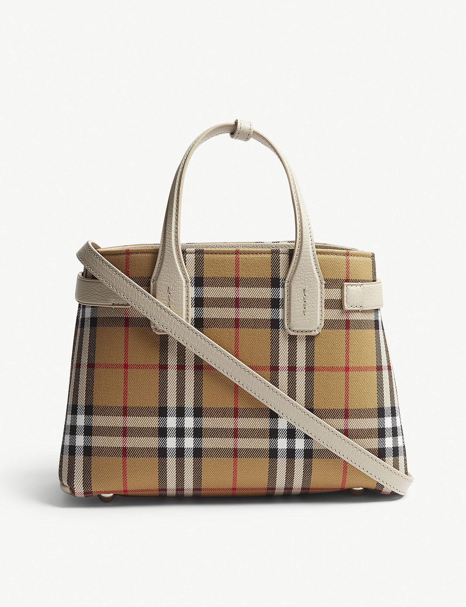 fc4061609d83 Lyst - Burberry Brown Check Banner Small Vintage And Leather Tote Bag