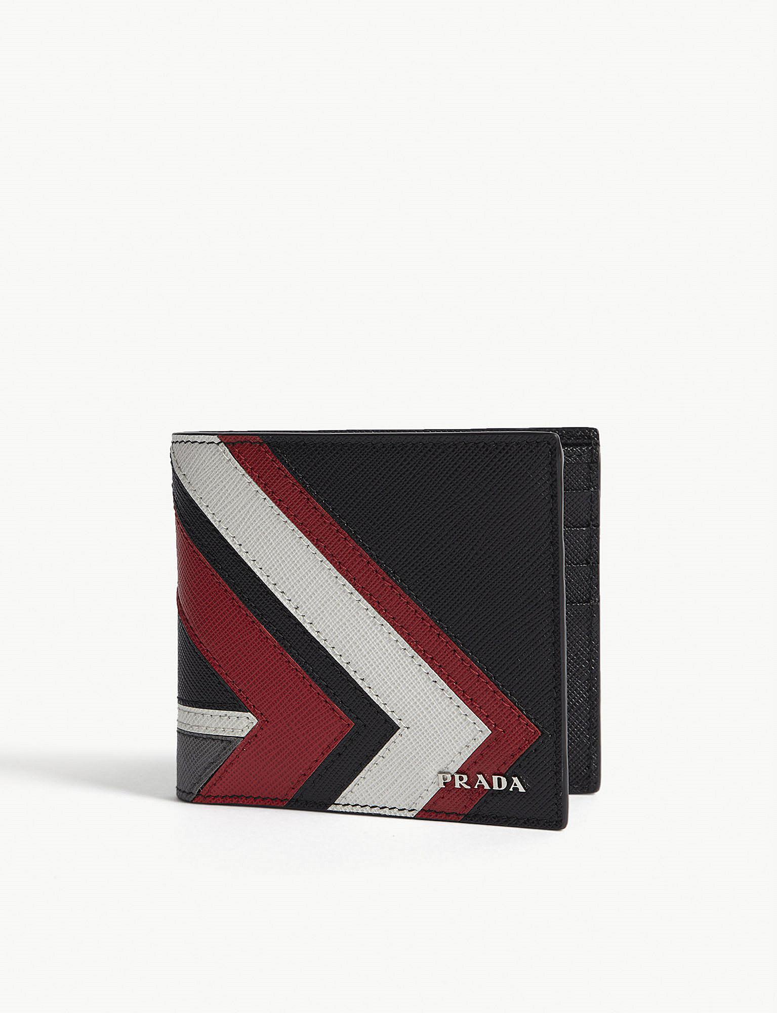 ecd9dbef4199 Prada Chevron Saffiano Leather Billfold Wallet in Red for Men - Lyst