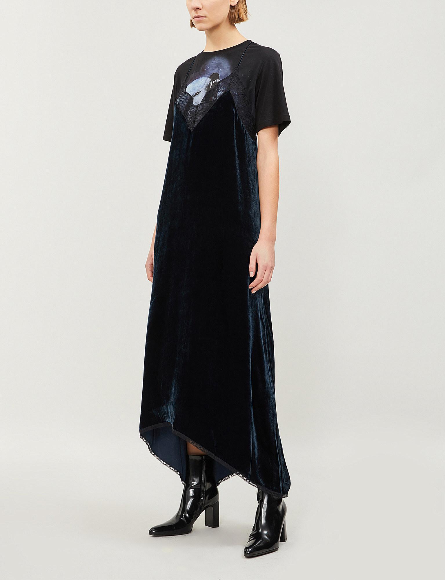 Dress Risty In Black Zadig Lace Trim Velvet Lyst Voltaire amp; Faqwva